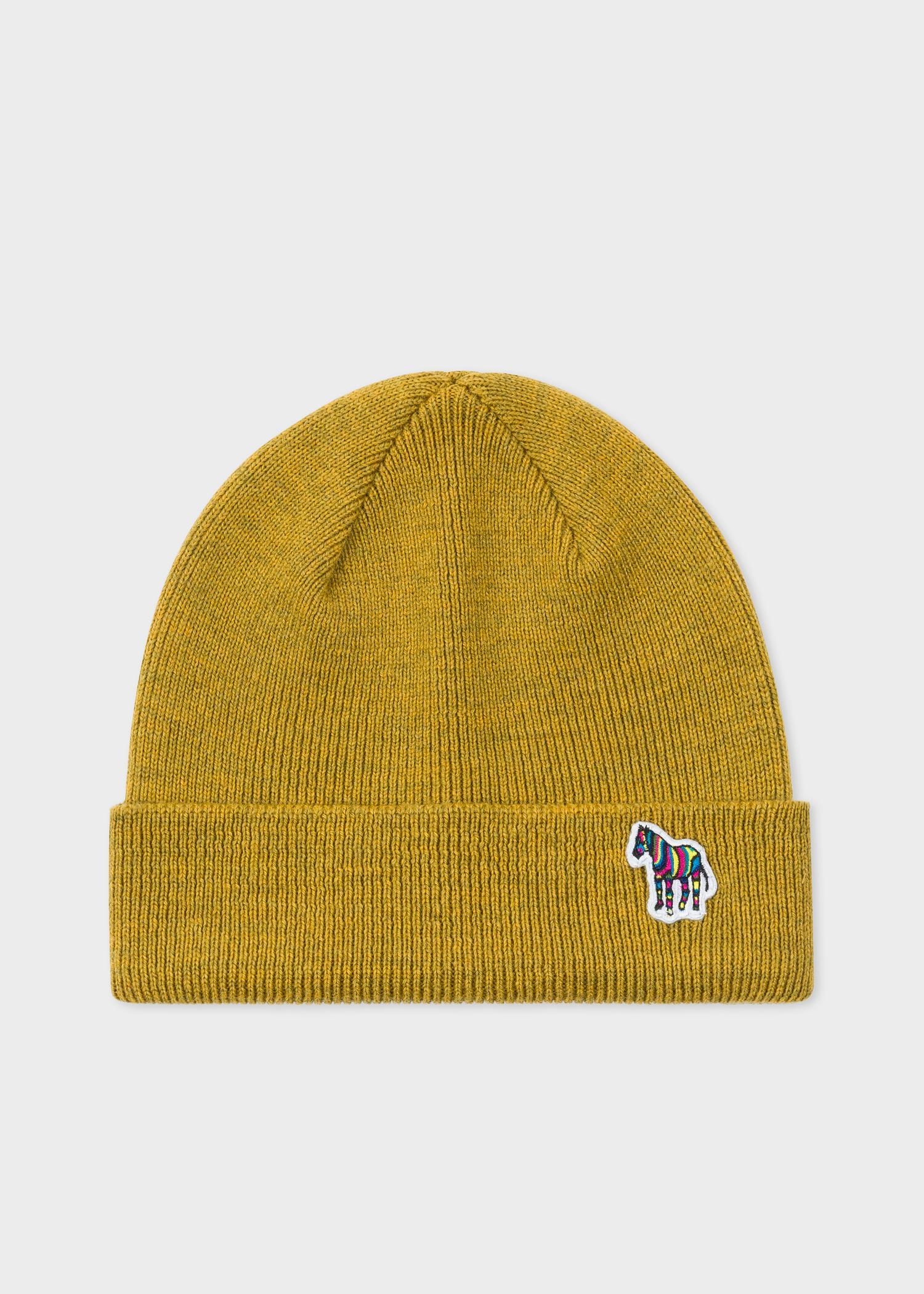 6e5fdfde8 Paul Smith Mustard 'zebra' Logo Ribbed Lambswool Beanie Hat in ...