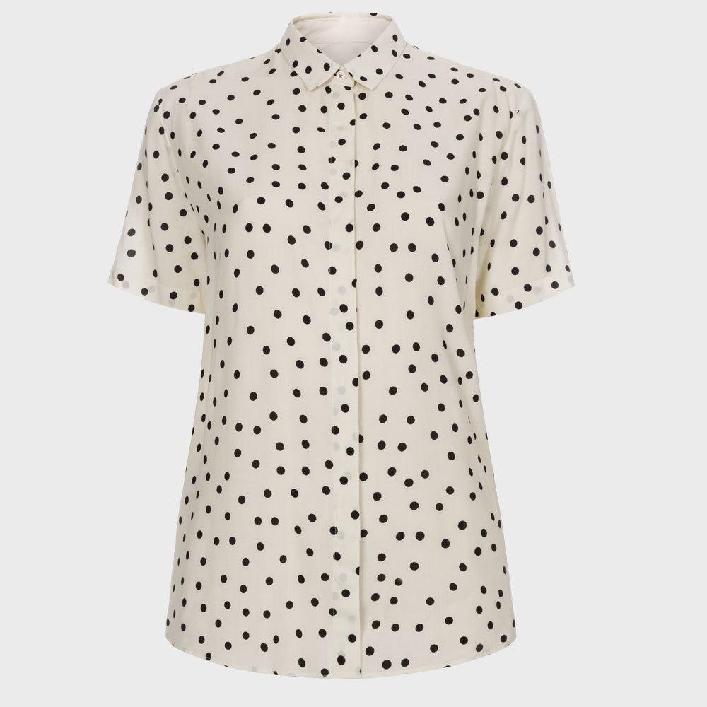 Paul Smith Women 39 S Cream Polka Dot Short Sleeve Shirt In