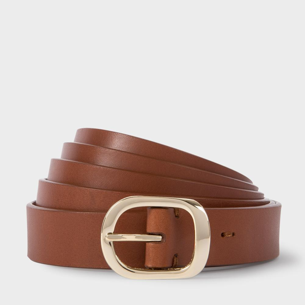 paul smith s brown leather length wrap belt