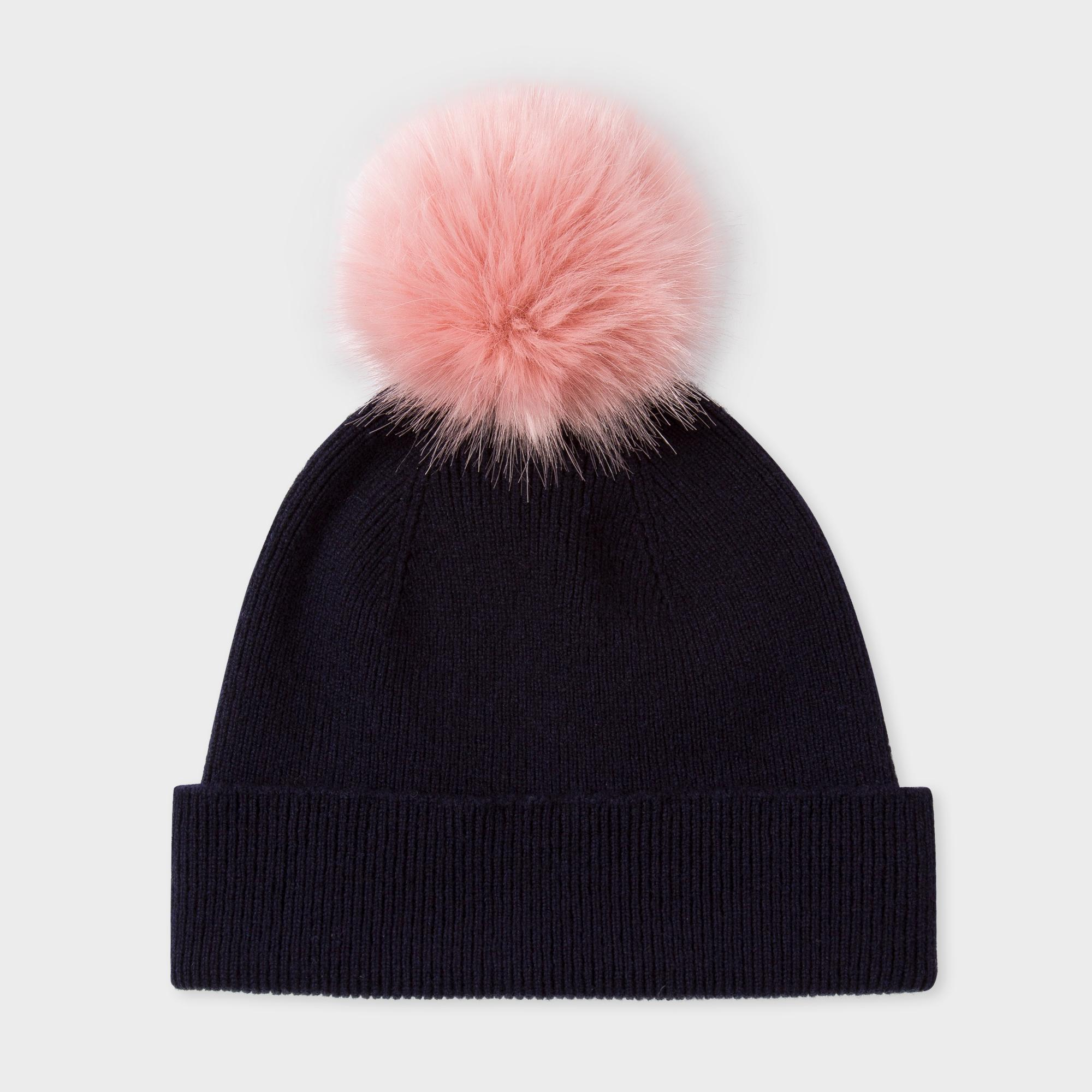 paul smith s navy lambswool pink bobble hat in blue