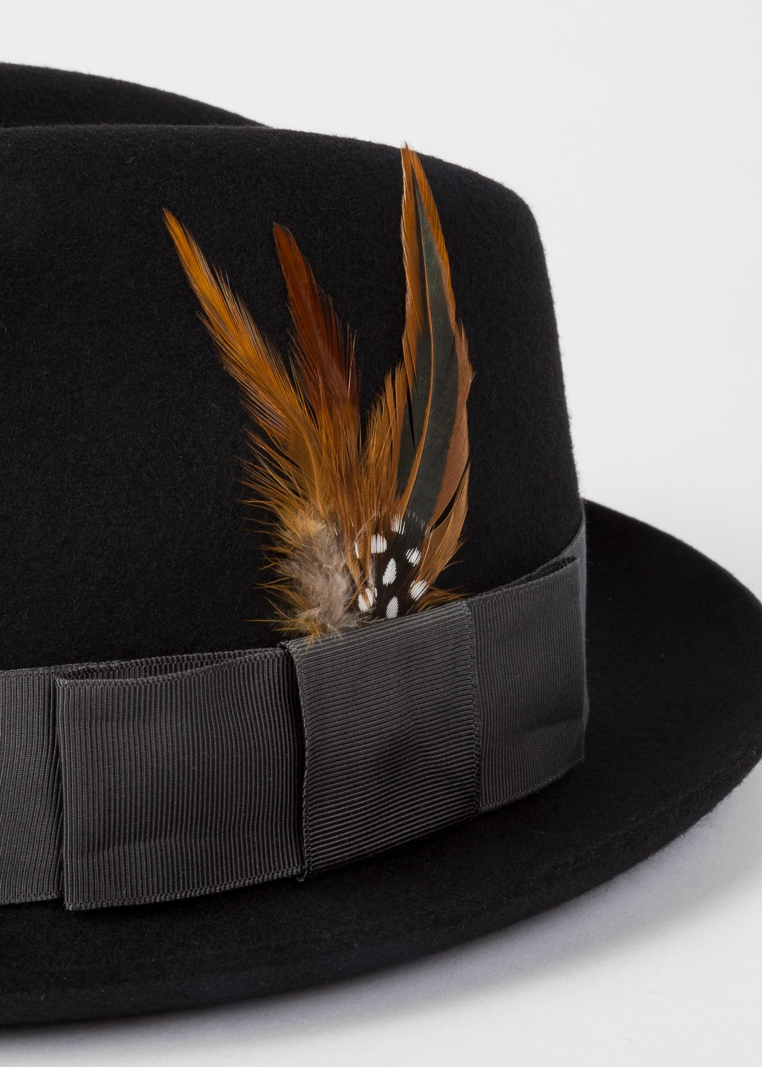 c8ad81bade5b26 Lyst - Paul Smith Black Wool-felt Trilby With Feather in Black for Men