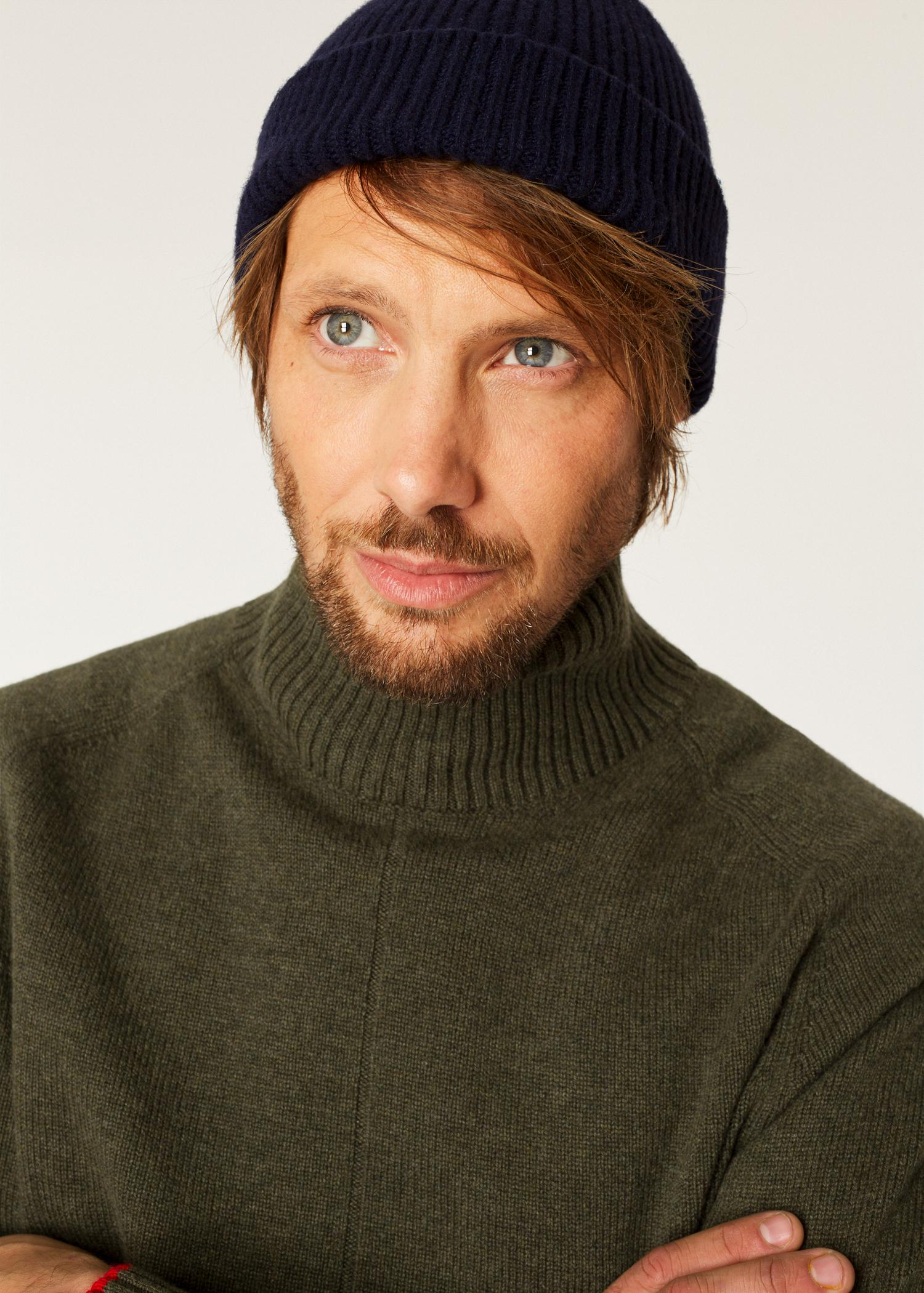 Paul Smith - Blue Navy Cashmere-Blend Ribbed Beanie Hat for Men - Lyst. View  fullscreen c6672d2b0575