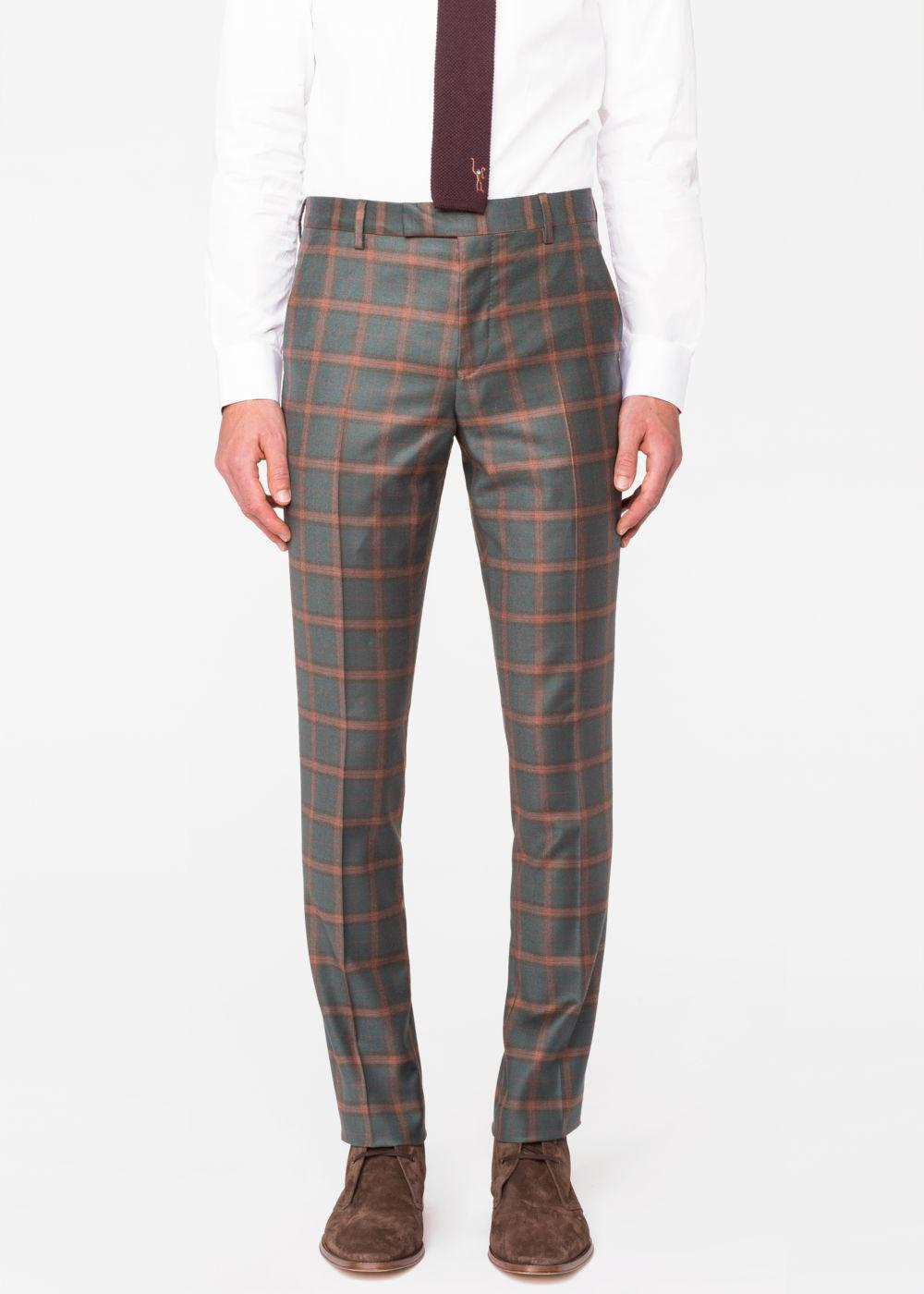 2655aa415fd Paul Smith Men s Green And Rust Check Wool-cashmere Trousers in ...