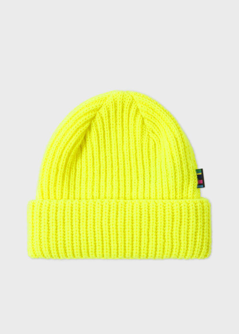 5a781a9c86a Lyst - Paul Smith Men s Neon Yellow Wool Beanie Hat in Yellow for Men