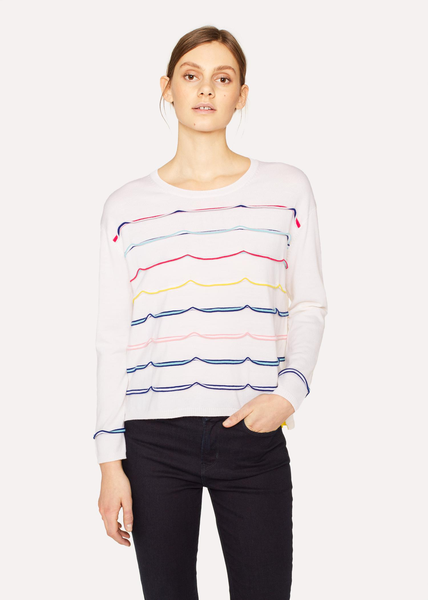 97d126e3687 Paul Smith Cream Knitted Ribbon Wool Sweater in Natural - Lyst