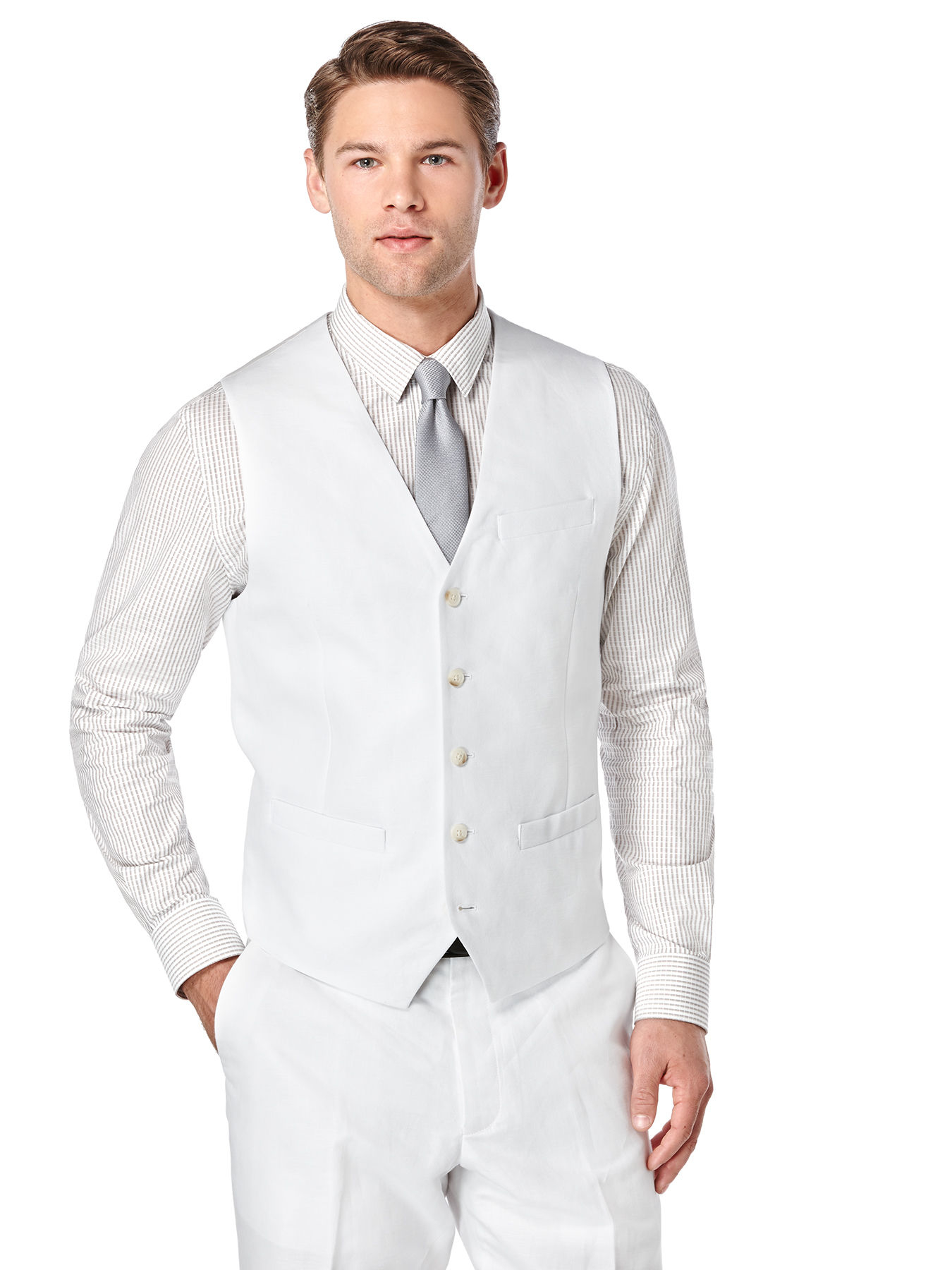 Perry Ellis Big And Tall Linen Twill Suit Vest In White