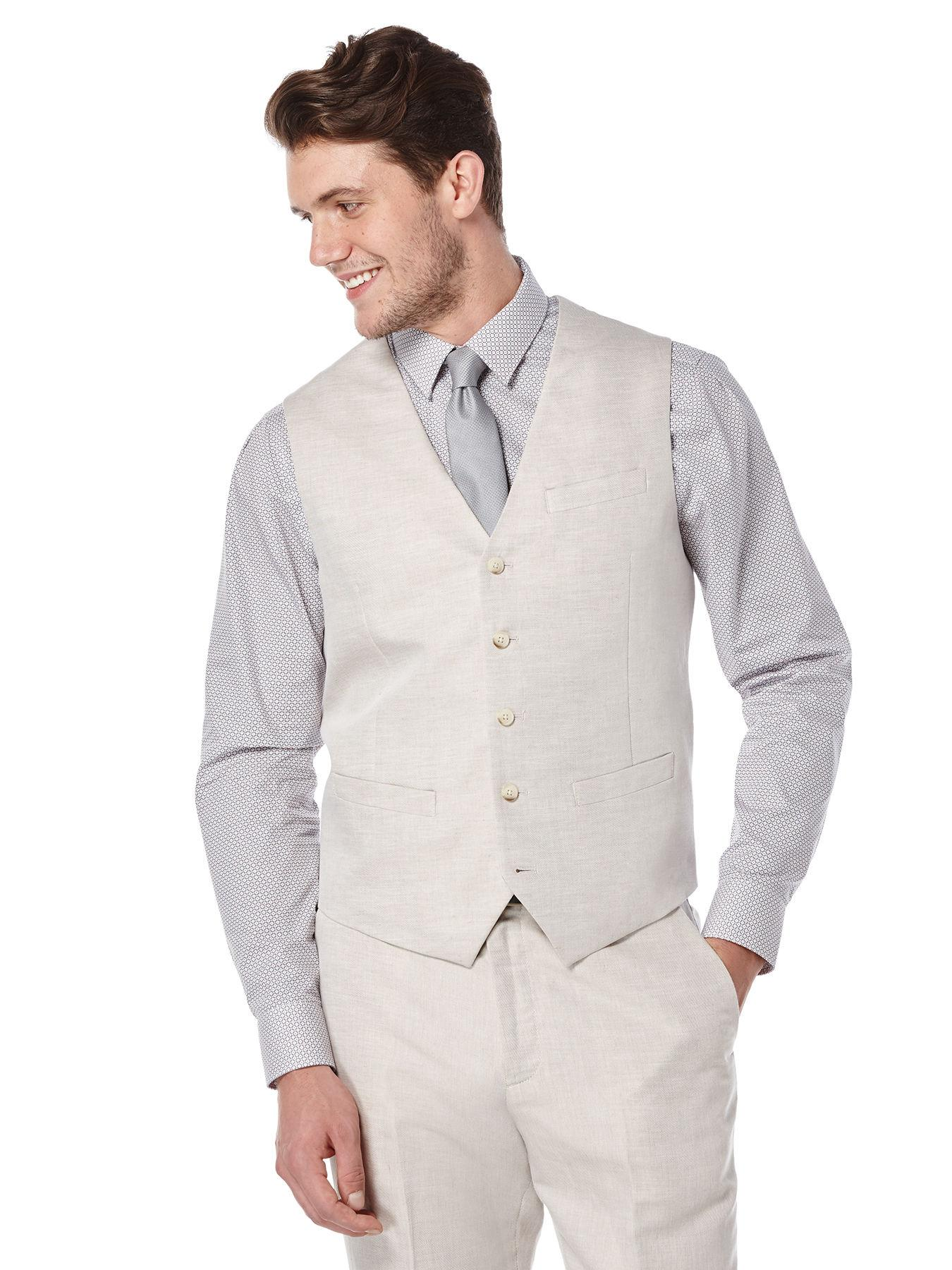 Perry Ellis Big And Tall Linen Twill Suit Vest In White For Men Lyst