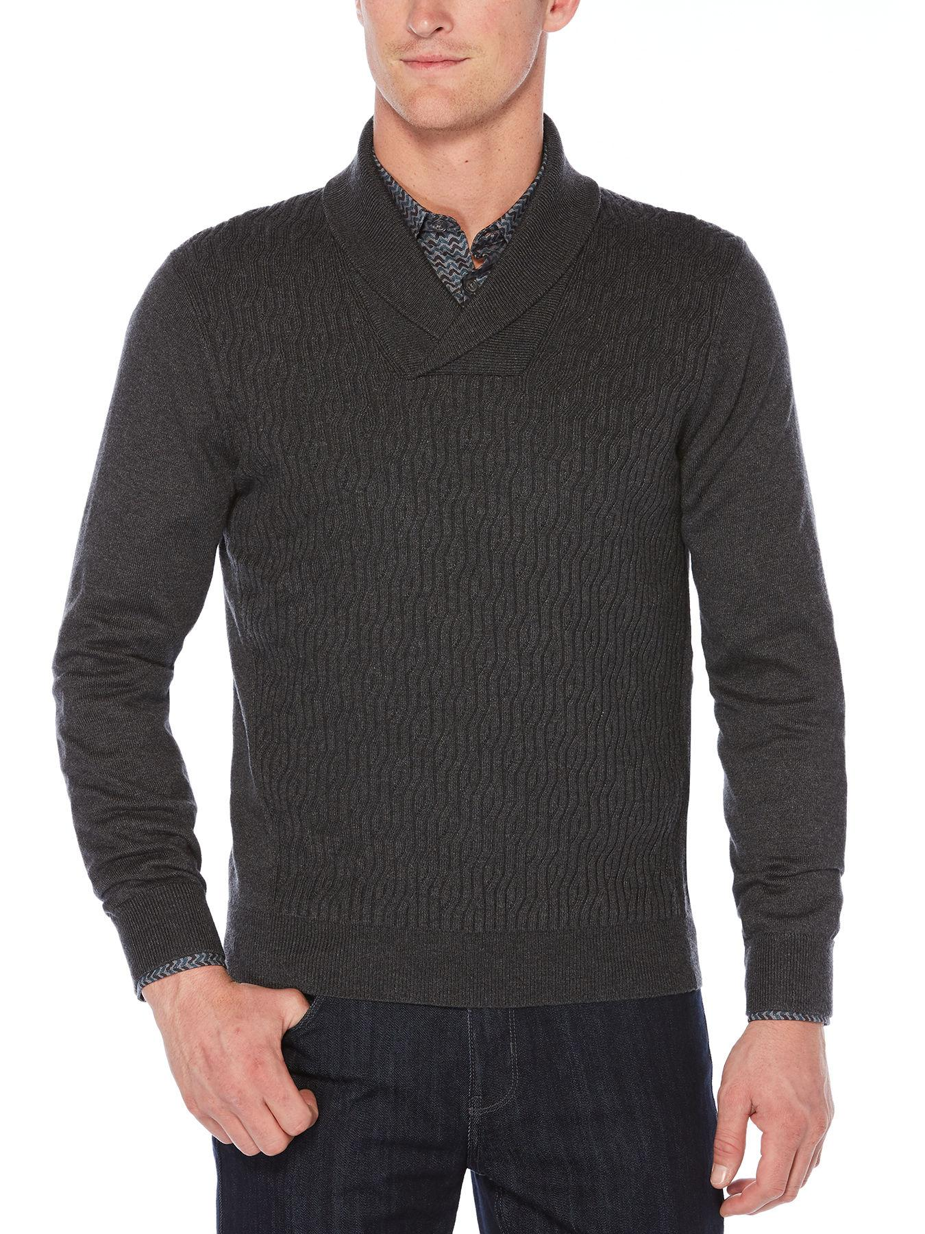 Lyst - Perry Ellis Big   Tall Cable Shawl Pullover Cardigan in Gray ... f26c1c5d5
