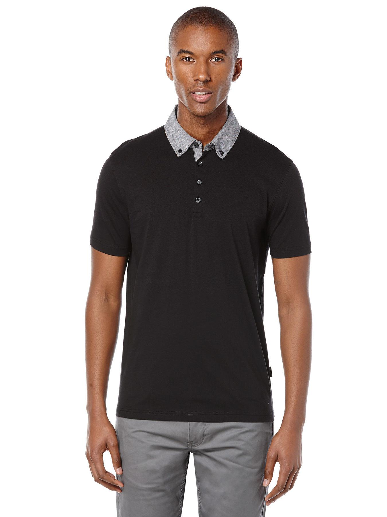 e43b618074 Lyst - Perry Ellis Short Sleeve Woven Collar Polo in Black for Men