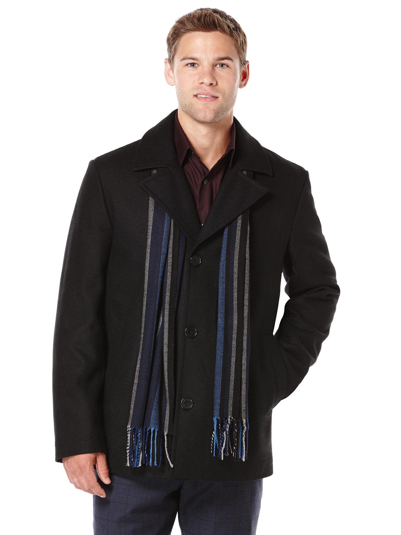 Perry Ellis Big Wool Melton Scarf Coat In Black For Men