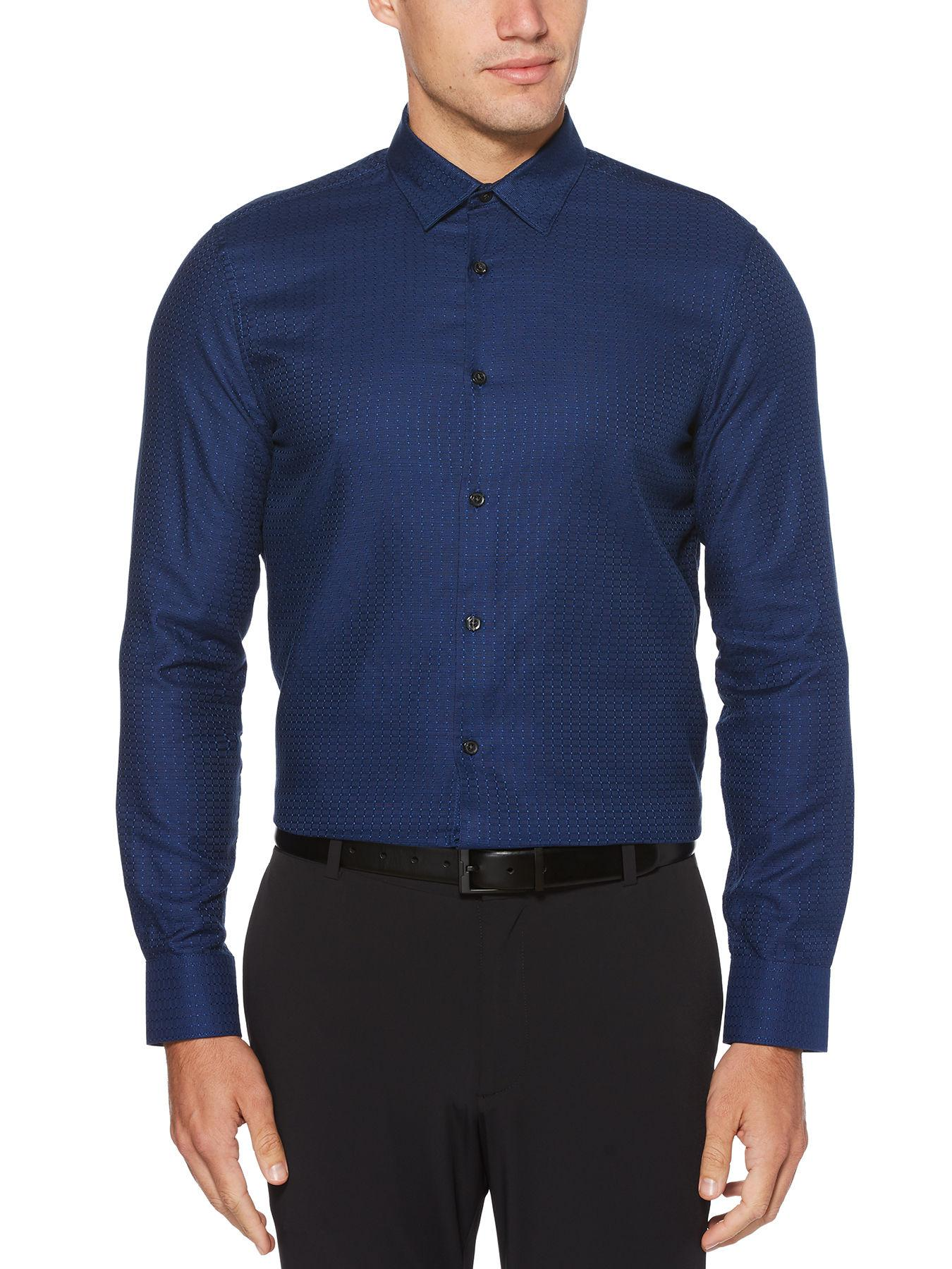 a73d62fe53d6 Lyst - Perry Ellis Slim Fit Check Shirt in Blue for Men