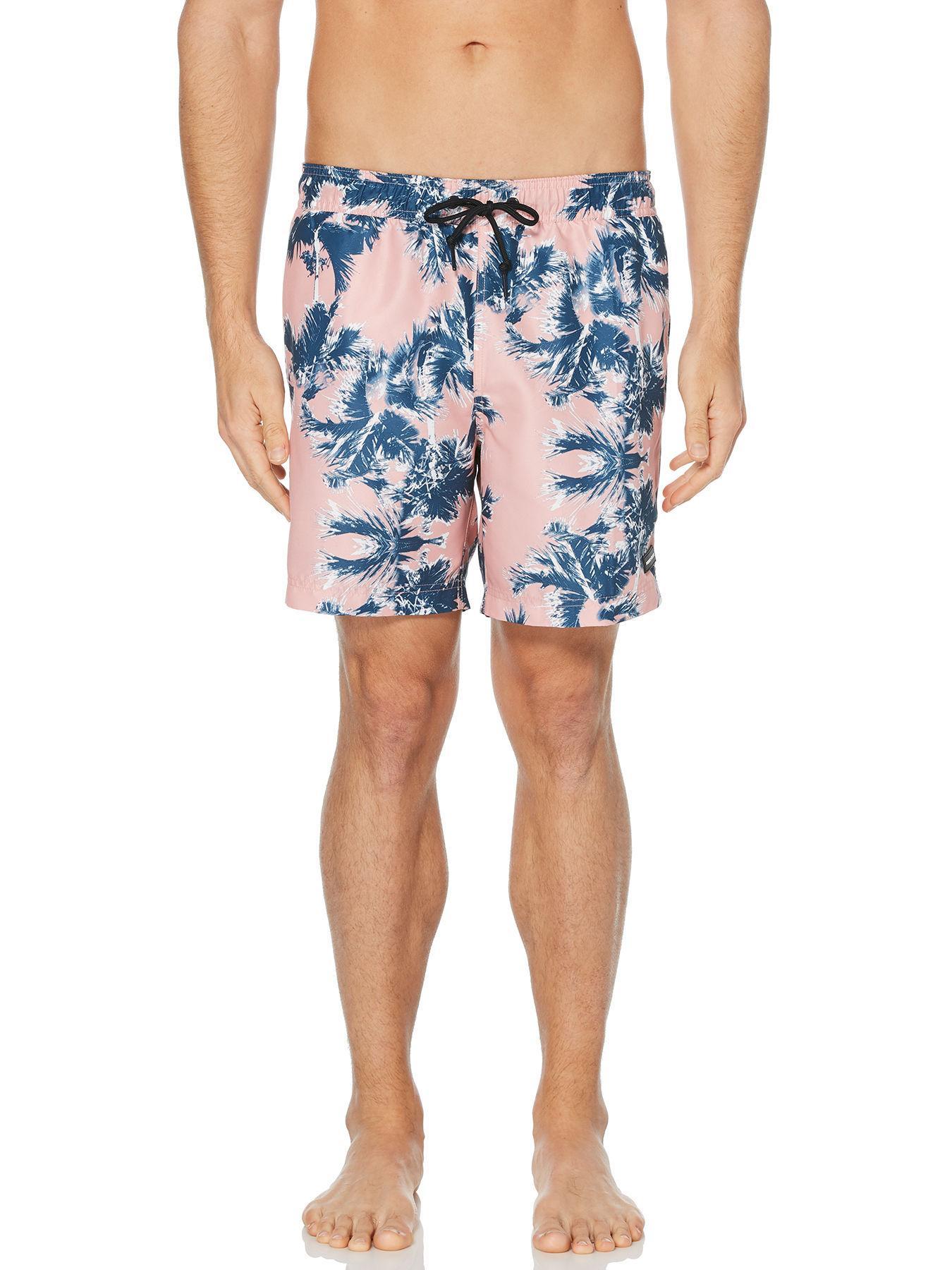 3c466adbd3 Lyst - Perry Ellis Palm Tree Print Swim Short in Blue for Men
