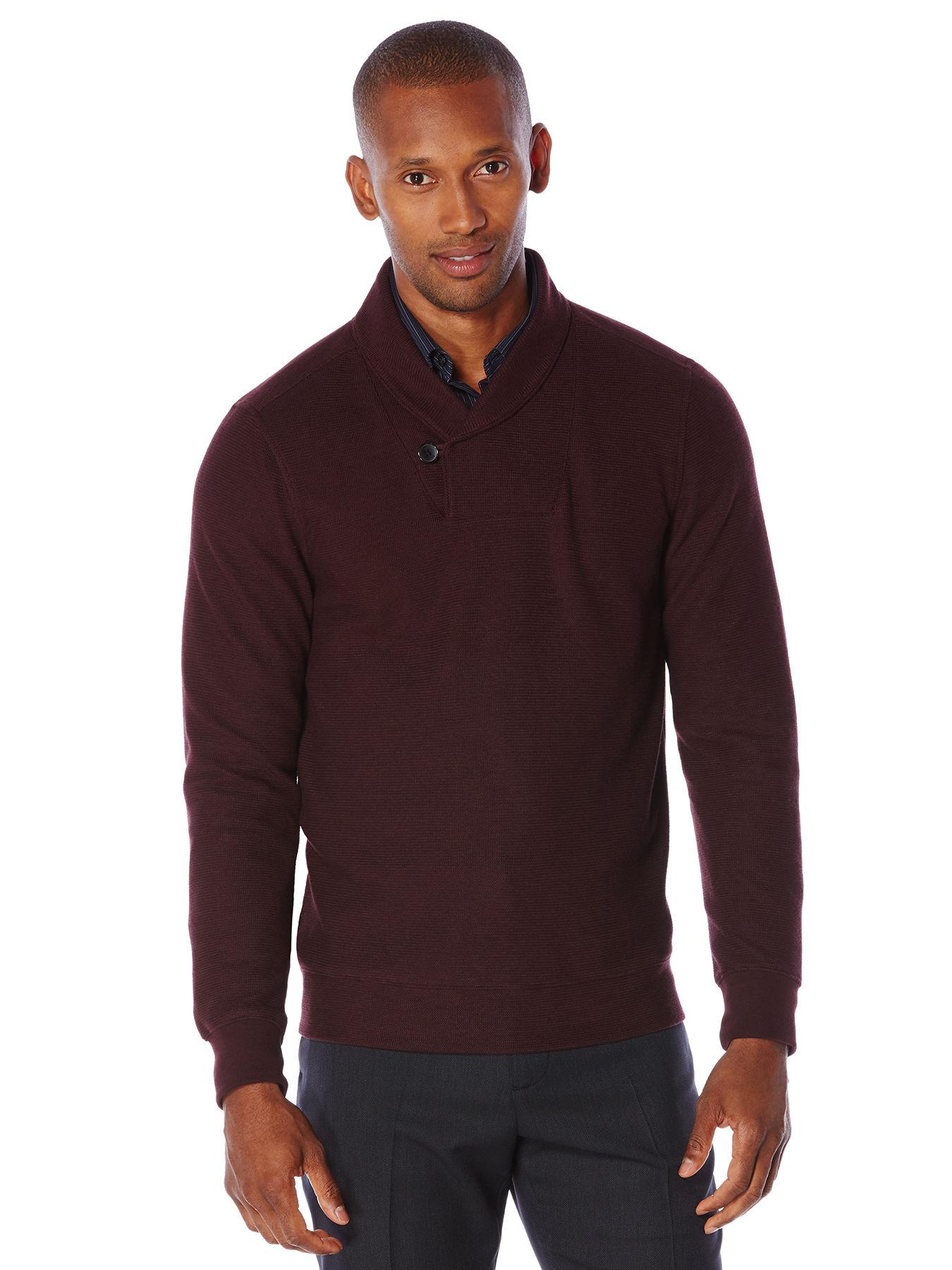 ed8d24405 Lyst - Perry Ellis Shawl Collar Pullover Sweater in Red for Men