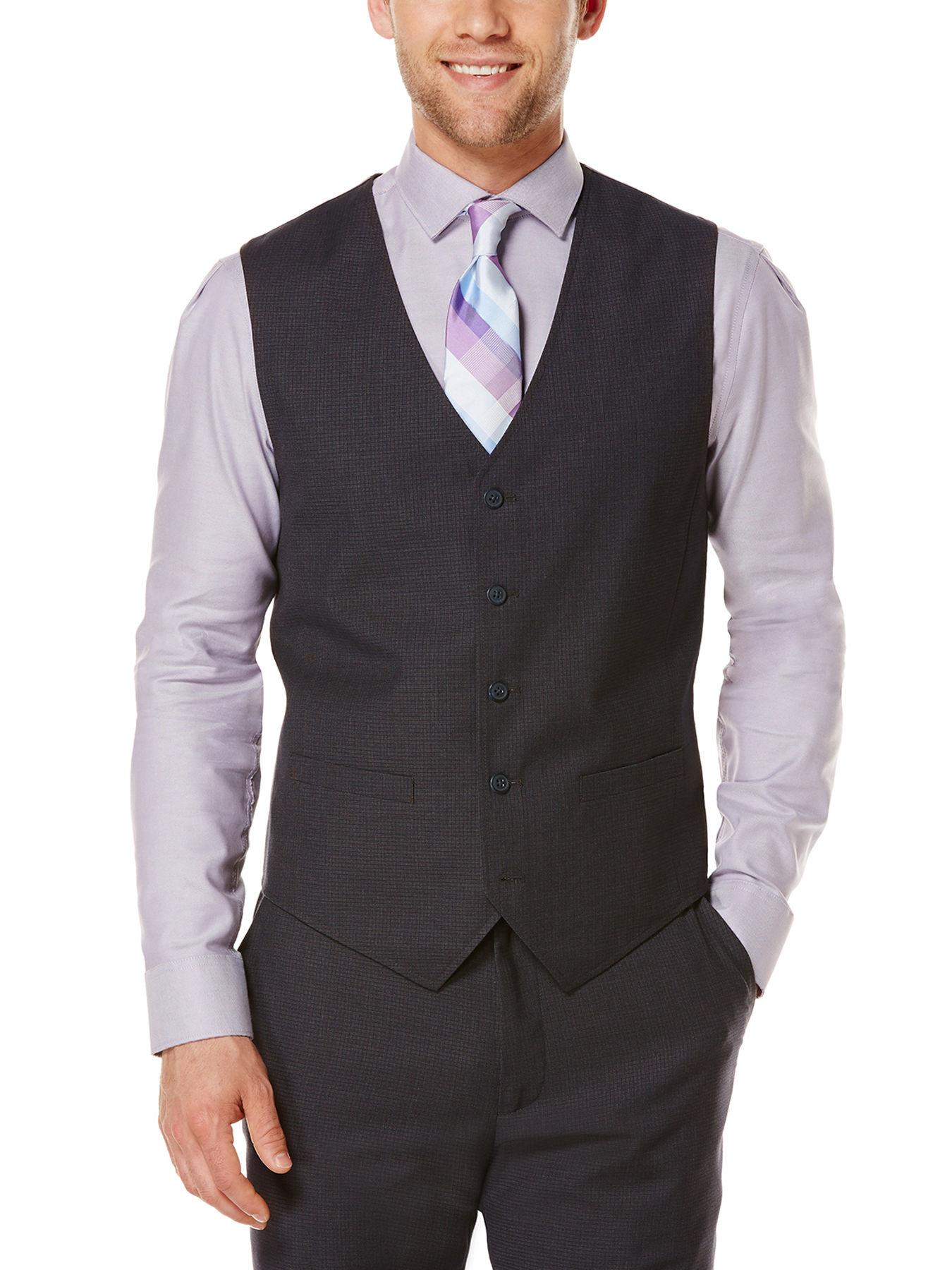 5aaa333356 Lyst - Perry Ellis Tonal Micro Check Suit Vest in Blue for Men
