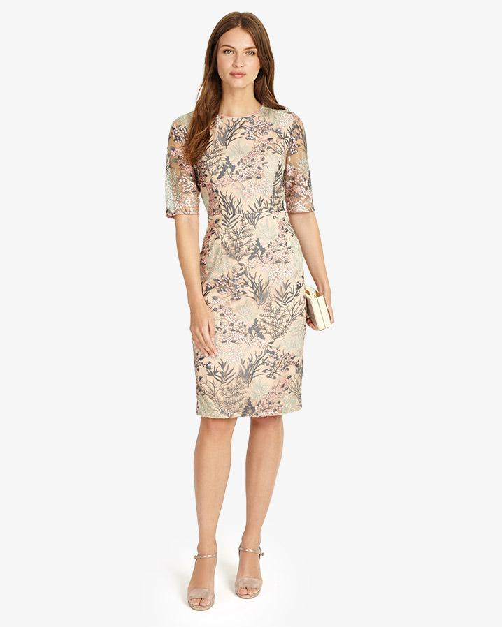 Phase Eight. Women's Natural Fern Embroidered Dress