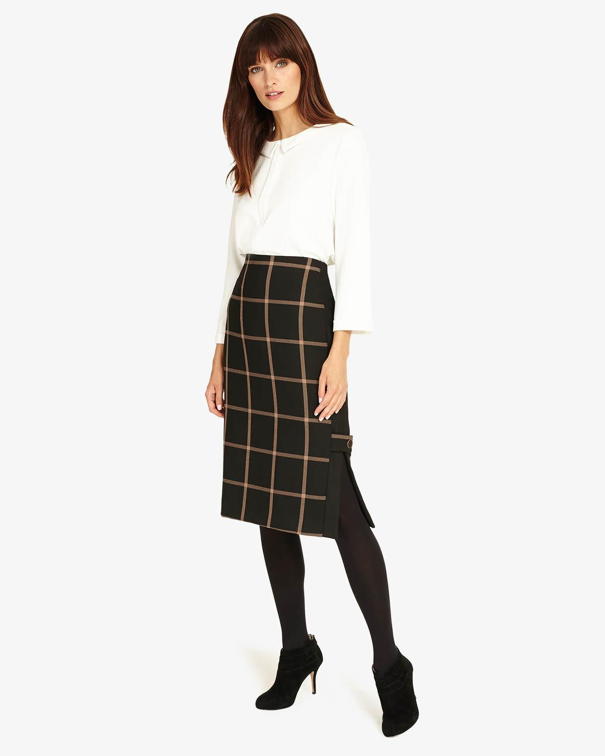 35d9ed232afe Phase Eight Hermione Check Pencil Skirt in Black - Save 40% - Lyst