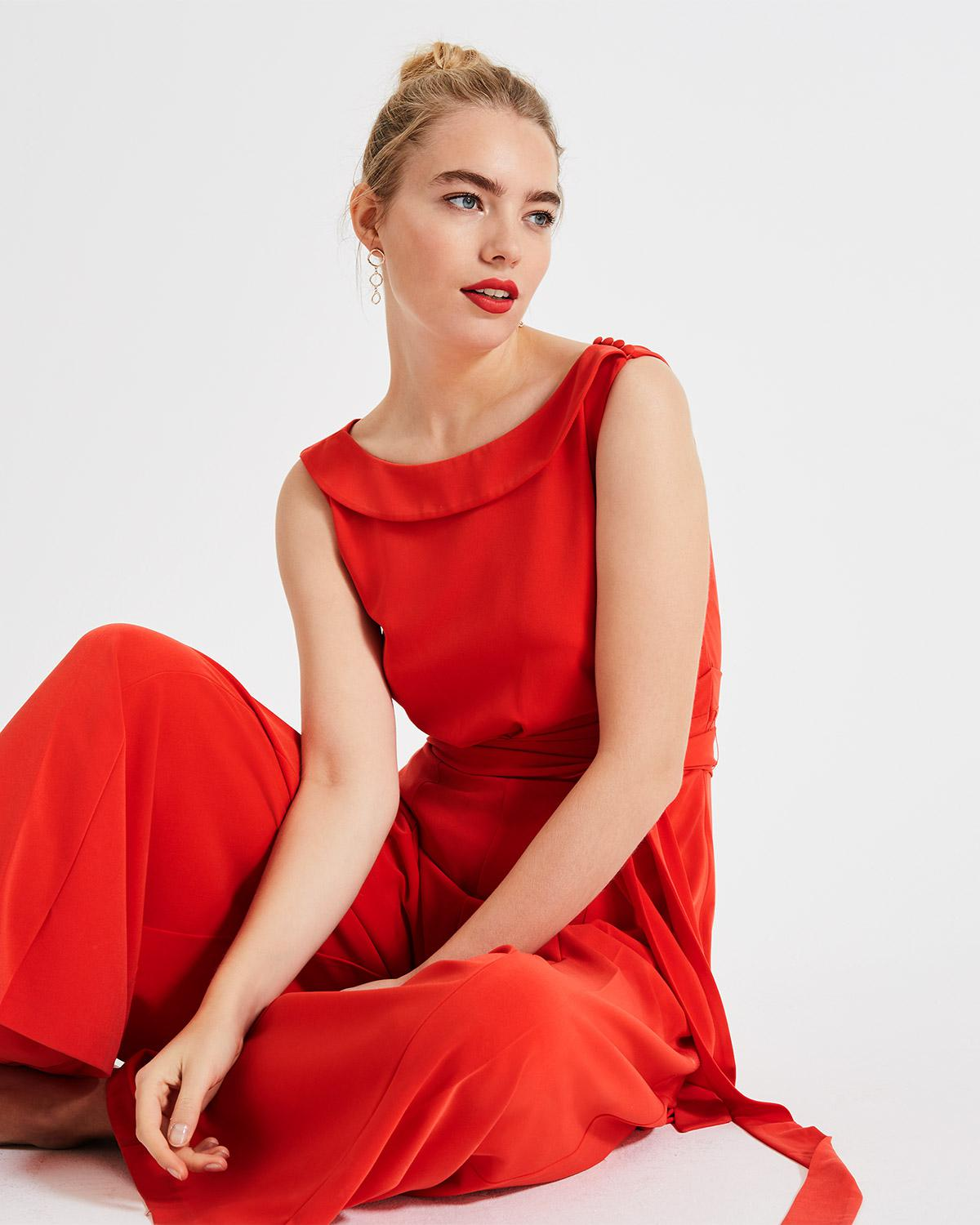 7eb06c93bb3 Lyst - Phase Eight Red Geneviev Bardot Jumpsuit in Red
