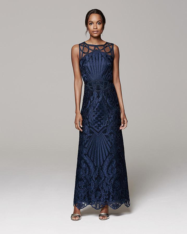 Phase Eight Geri Embroidered Full Length Dress in Blue - Lyst