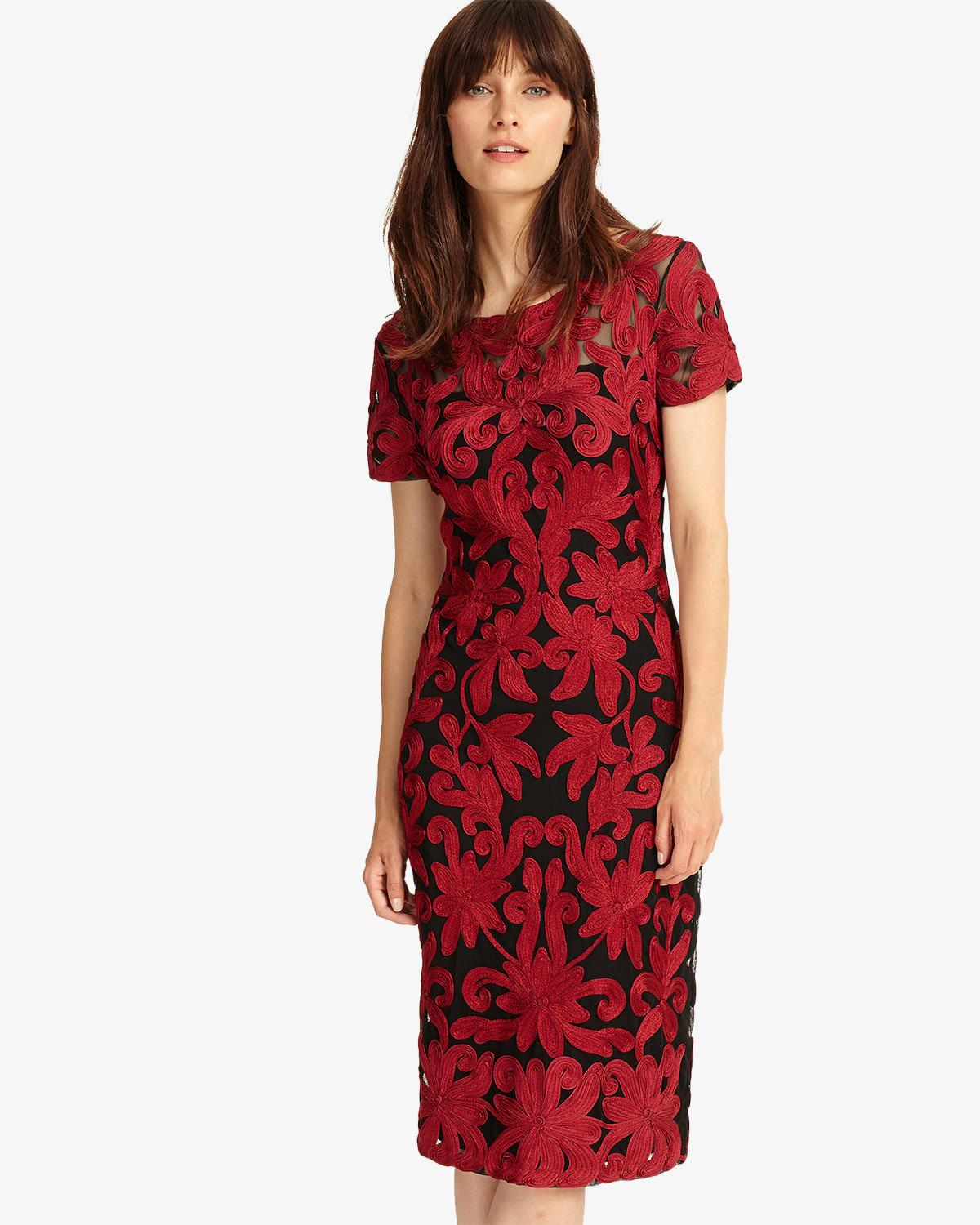 be6c901a160 Phase Eight Fire Indra Tapework Dress in Red - Lyst