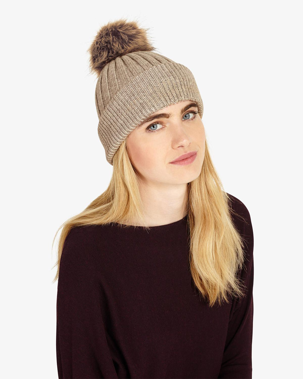 b388ce7b312 Phase Eight Pom Pom Hat in Natural - Lyst