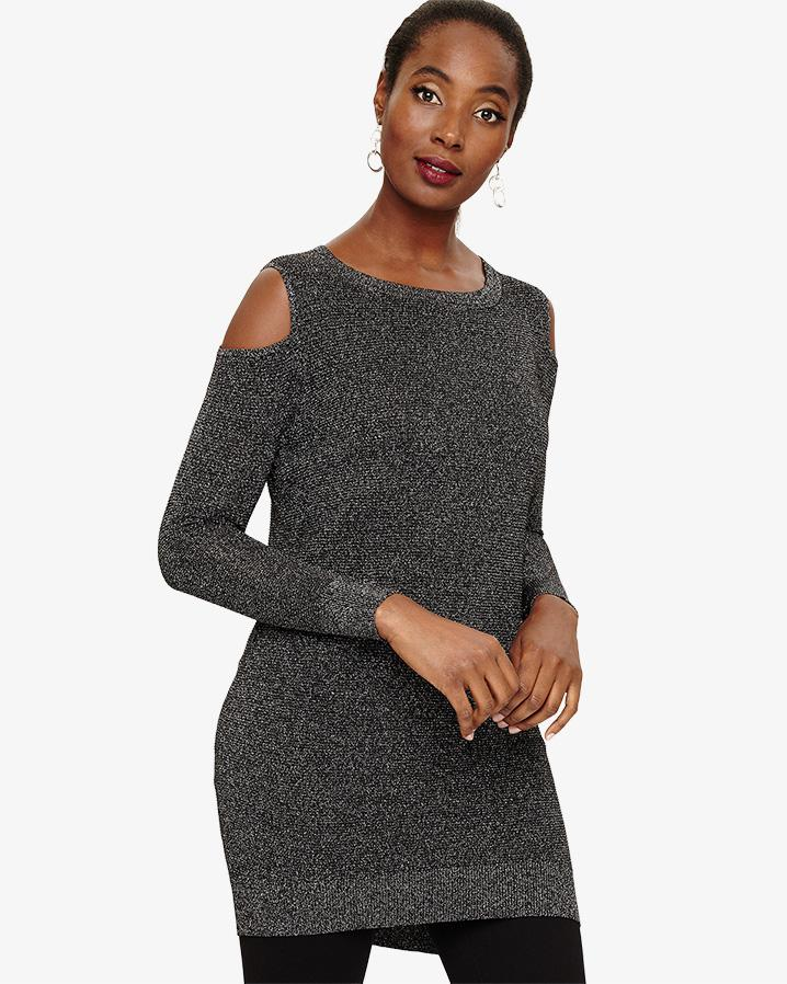 af92663c6ba20b Lyst - Phase Eight Romana Shimmer Cold Shoulder Tunic in Black