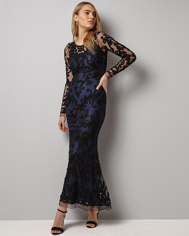 Lyst - Phase Eight Aubree Tapework Full Length Dress in Black