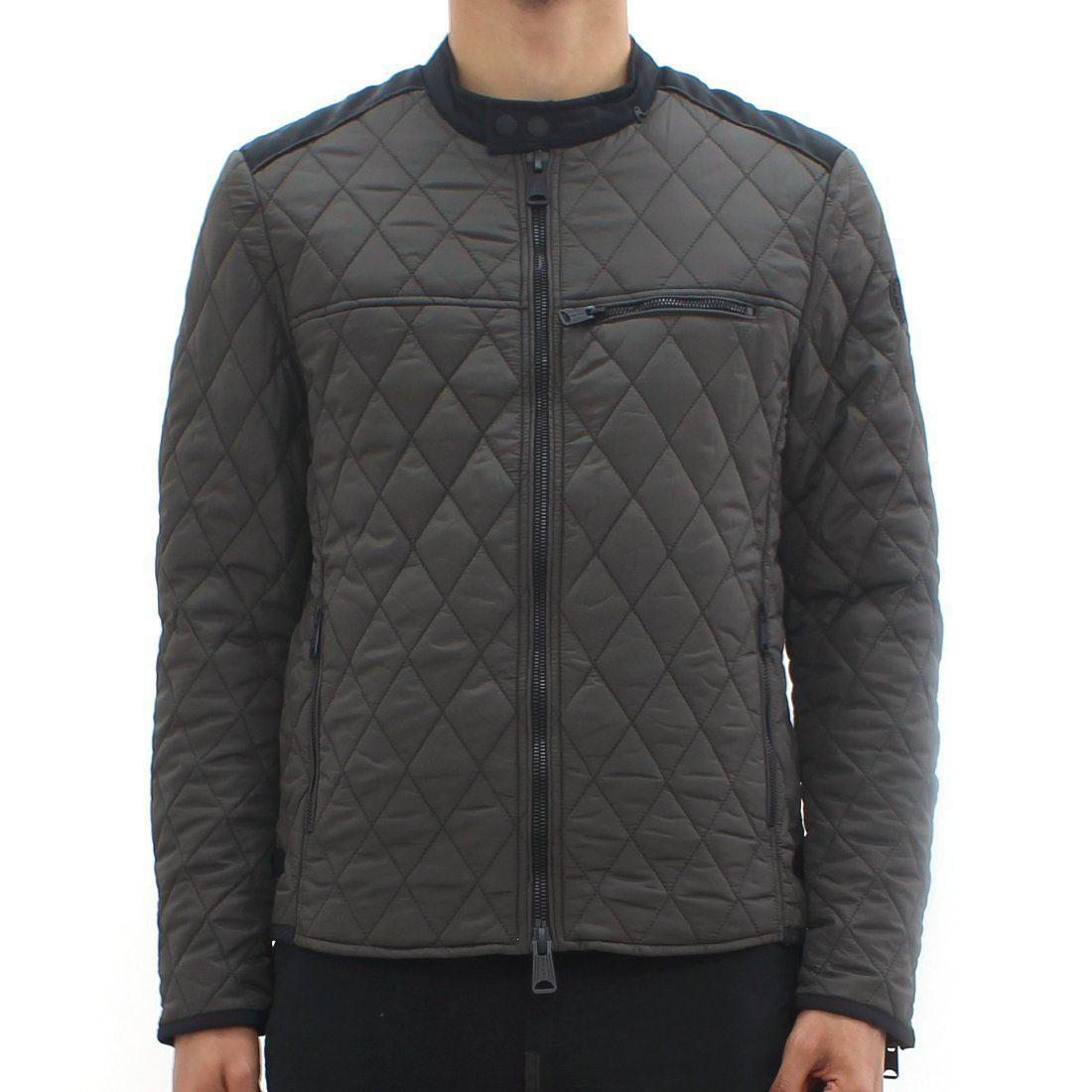 Replay Diamond Quilted Jacket Khaki Brown For Men Lyst