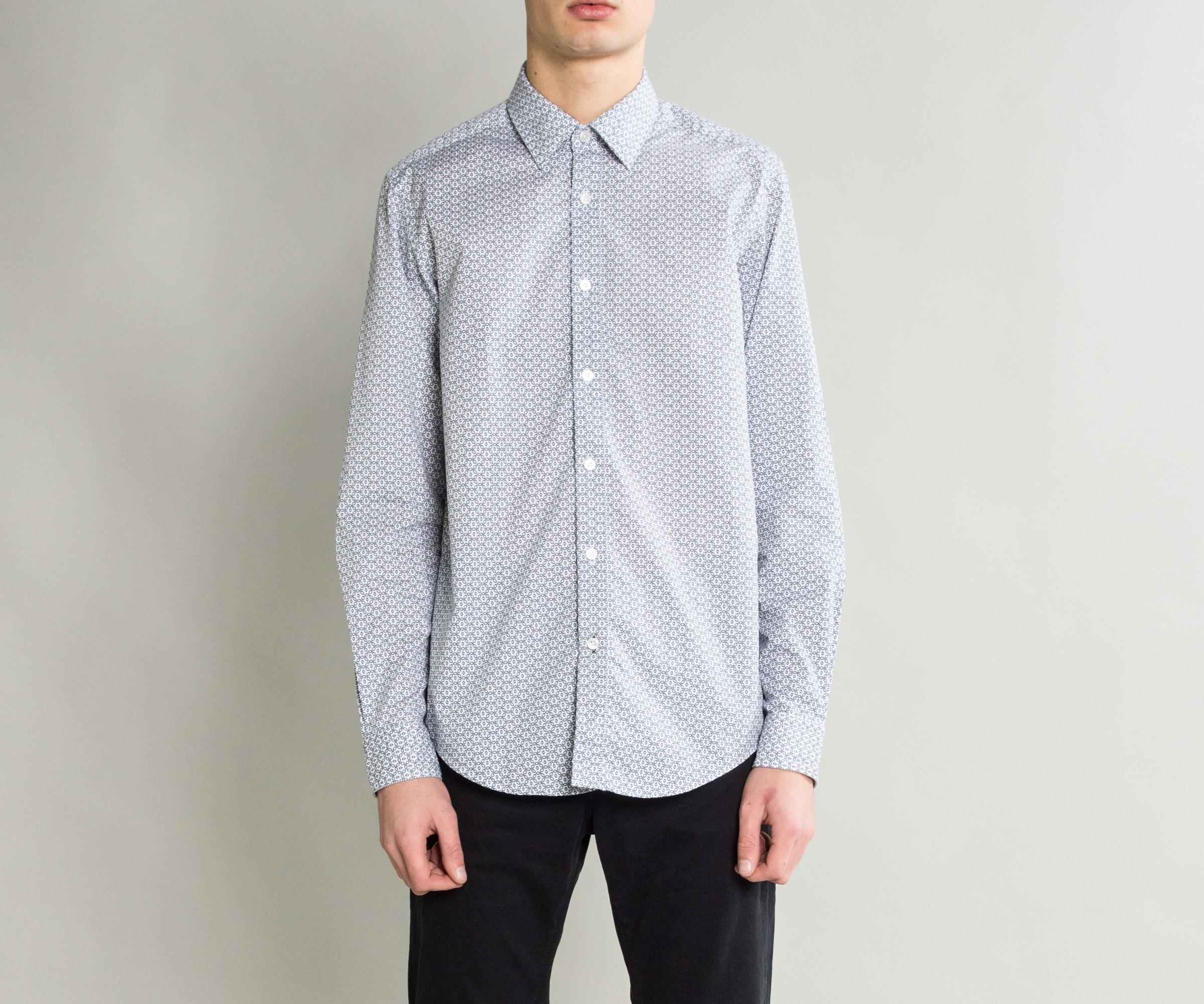 bac26182 BOSS 'lukas-53' Coffee Bean Print Cotton Shirt White in White for ...