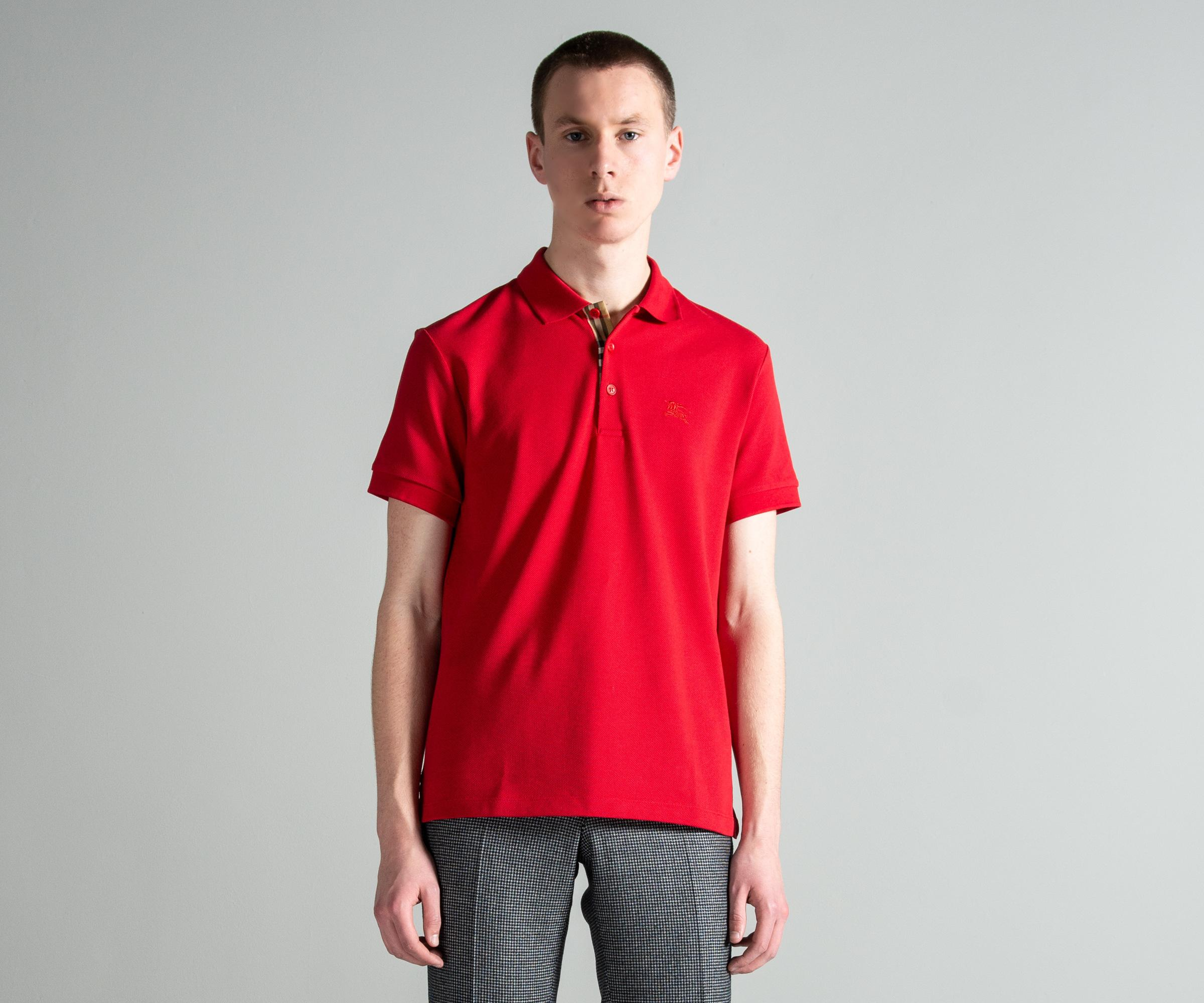 9791d605 Lyst - Burberry 'hartford' Check Placket Cotton Polo Military Red in ...