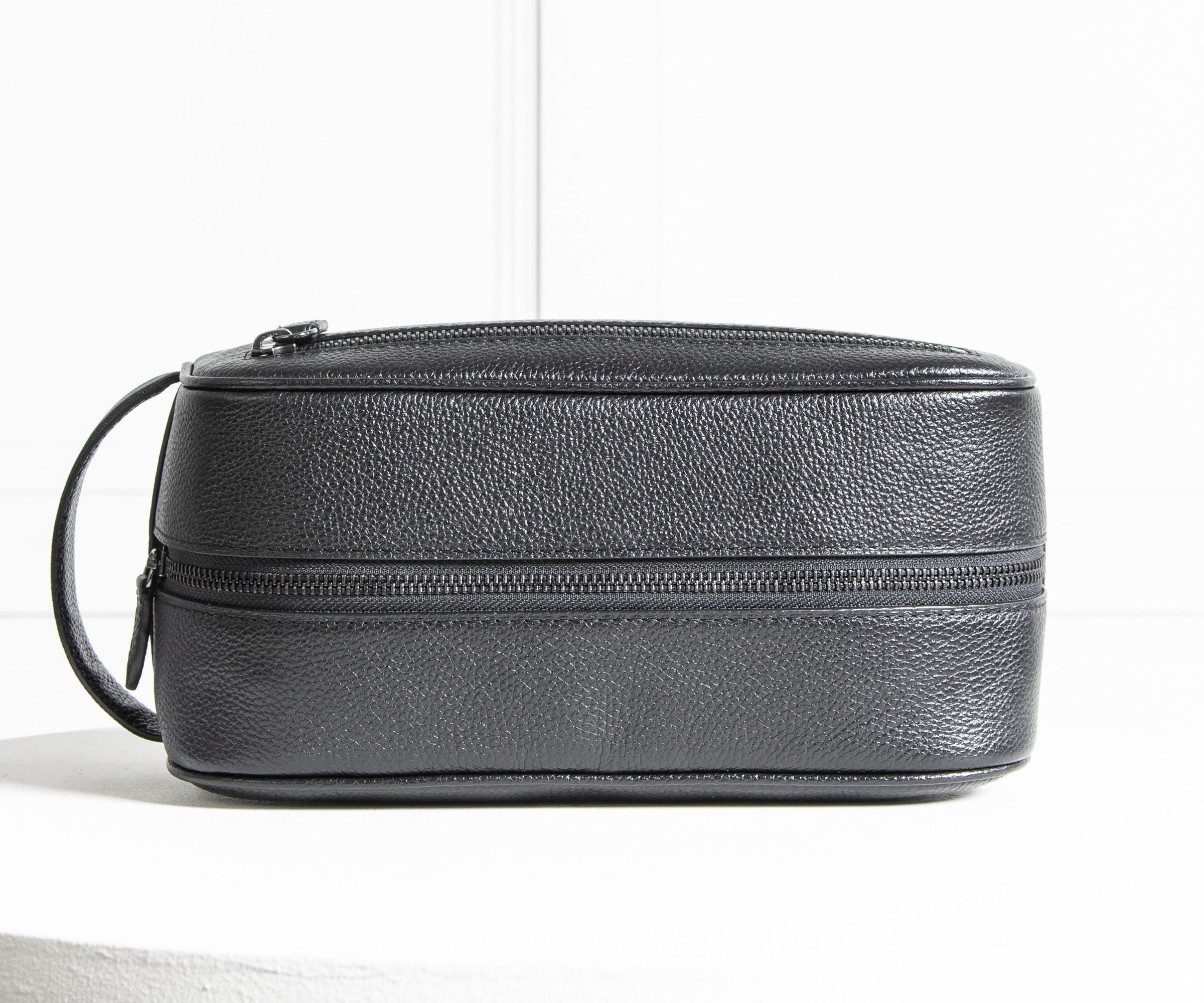 35cc744347 Lyst - Polo Ralph Lauren Leather Wash Bag Black in Black for Men