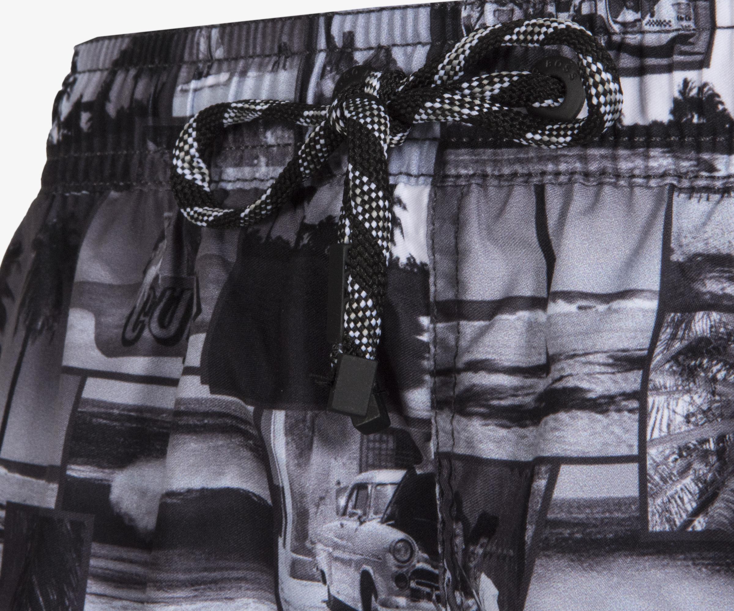 3acbda7b51 BOSS - 'springfish' Quick Dry Cuba Lifestyle Print Swim Shorts Black &  White for. View fullscreen
