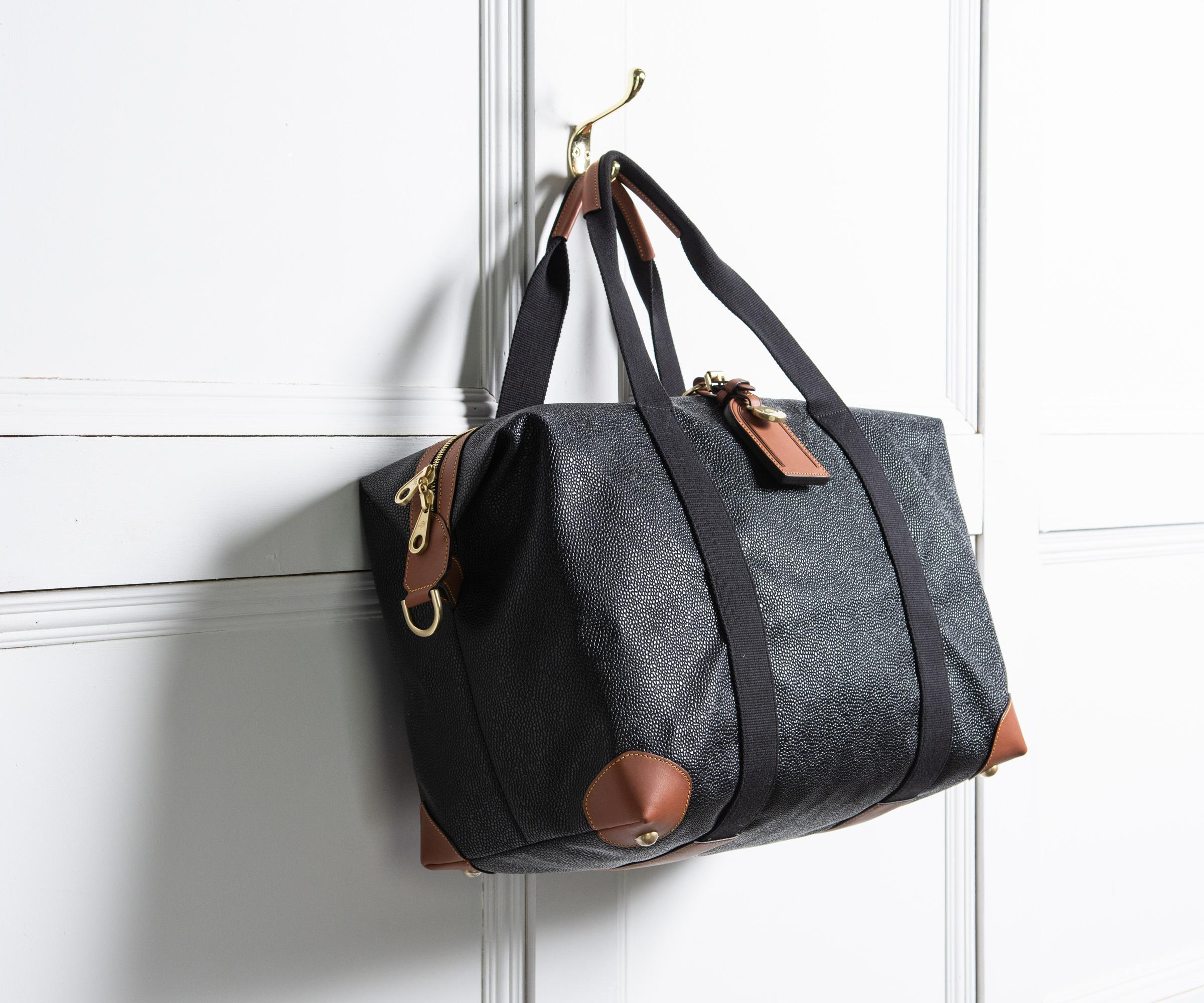 Mulberry  small Clipper  Scotchgrain Weekend Bag Black cognac in ... 48ba88f66aed5