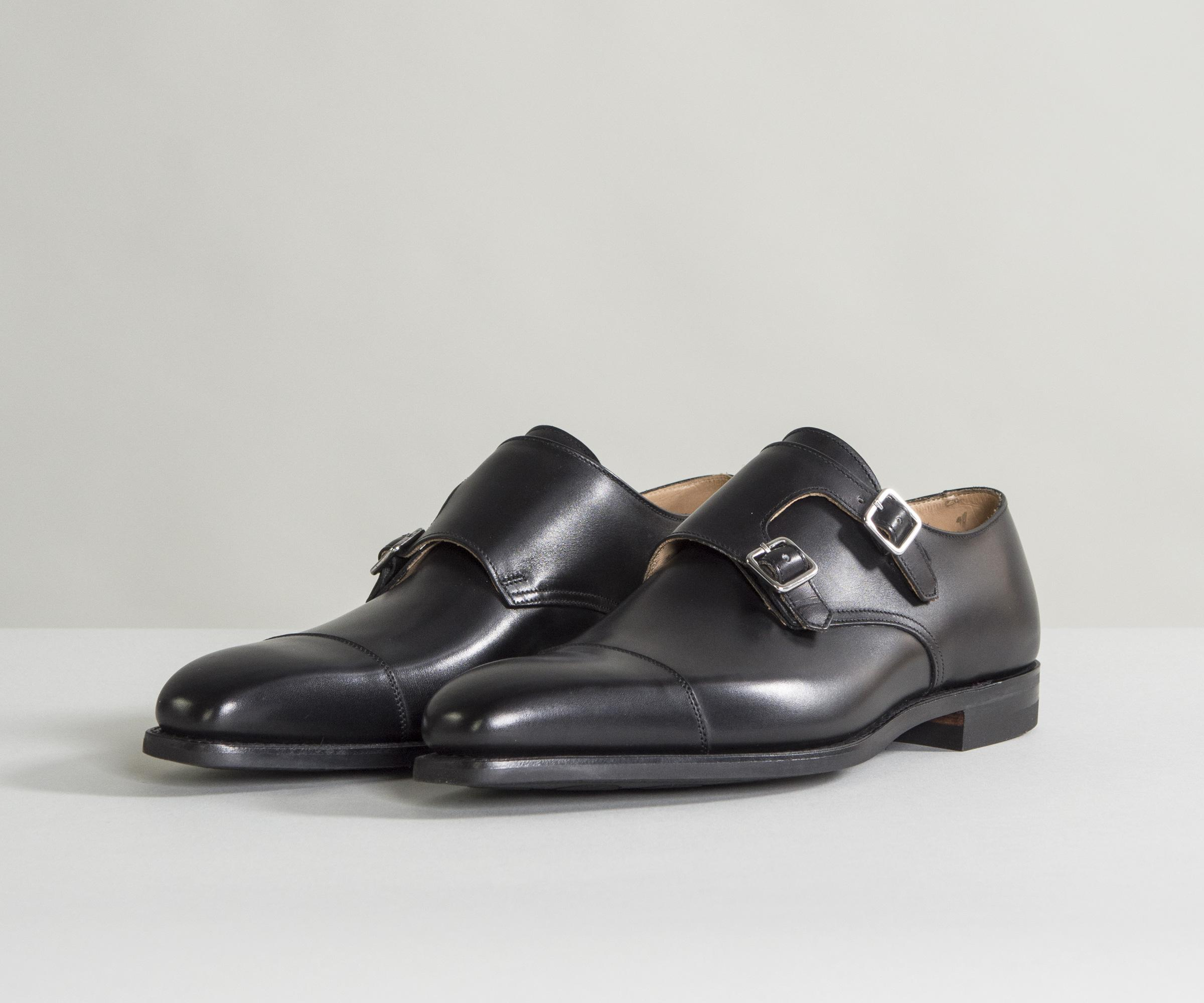 Best Prices Cheap Online Cheap Popular Lowndes Calf Leather Double Monk Shoes With City Soles Black Crockett & Jones Purchase Cheap Online pTOta