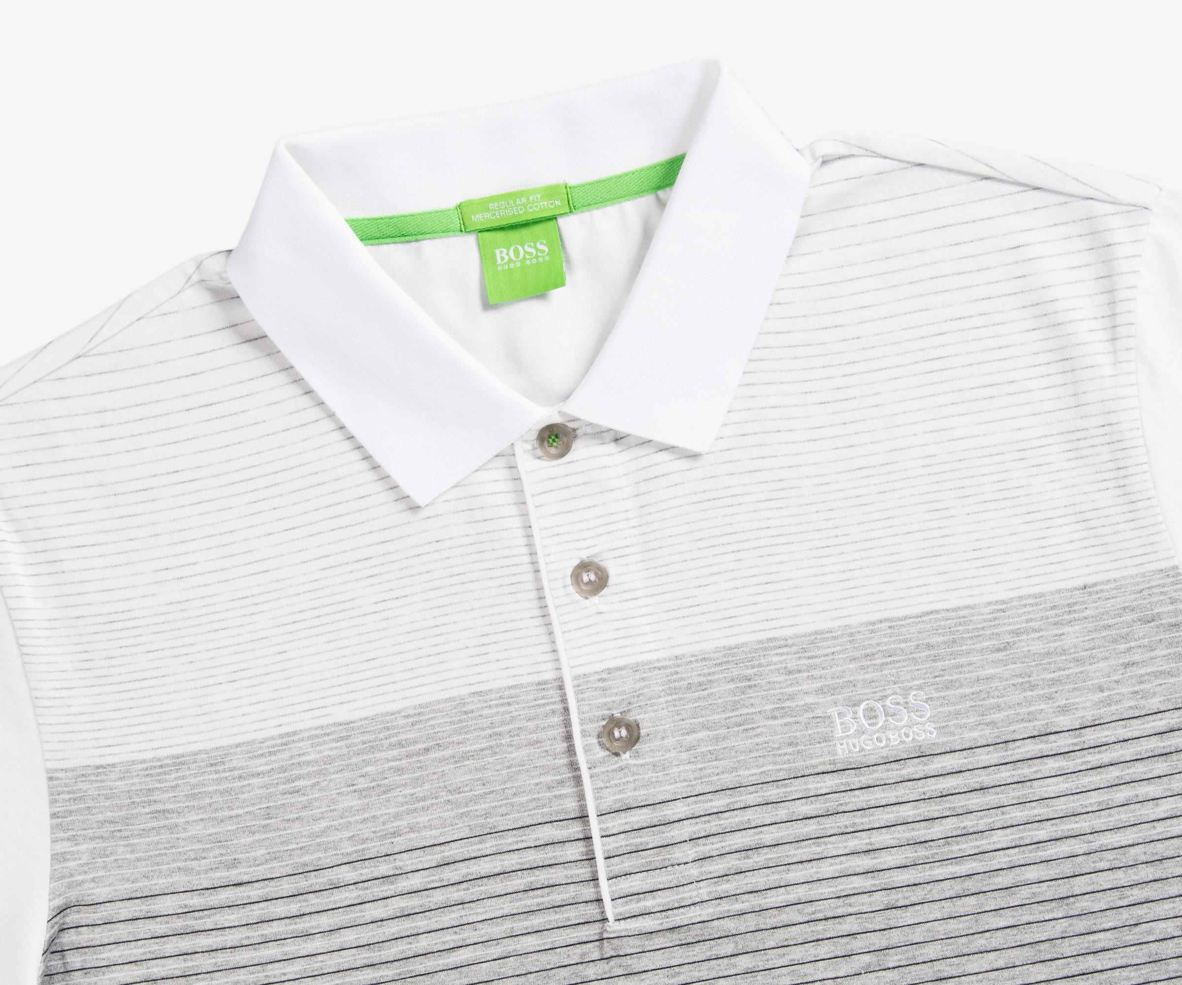 50e7d124 Lyst - BOSS 'paddy' 3 Contrast Striped Polo White/grey/black in Gray ...