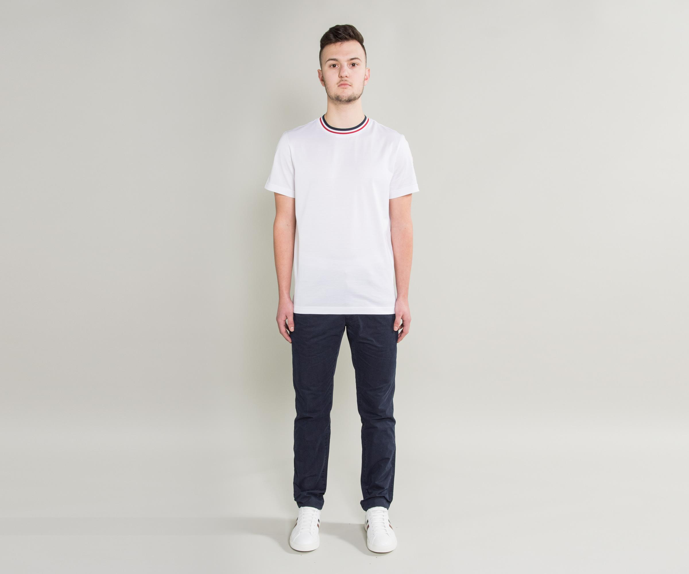 a425034f4850 Lyst - Moncler Knitted Tricolour Collar T-shirt White in White for Men