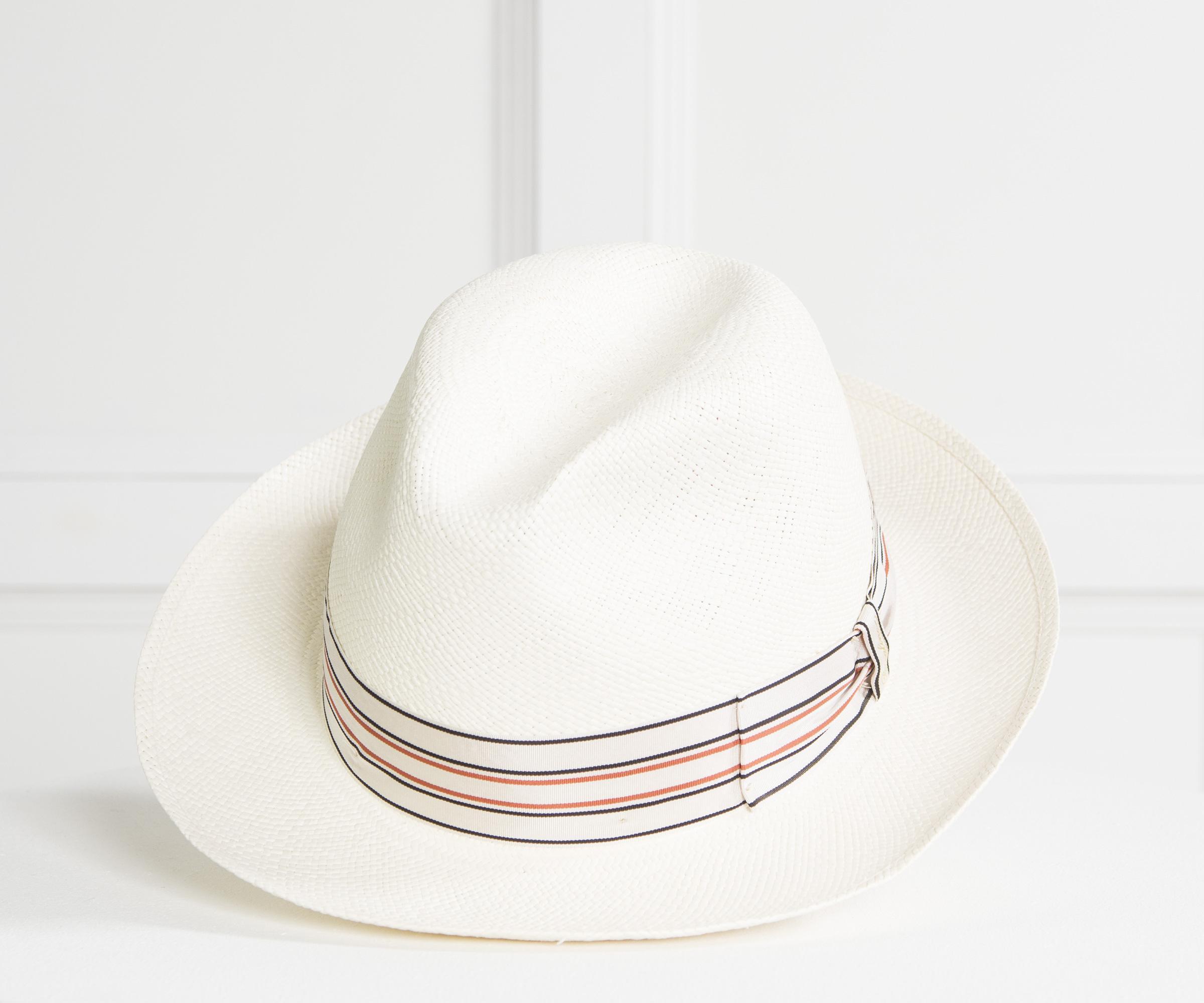 94212d0062a Lyst - Borsalino  1101  Straw Panama Hat With Pin Stripe Band Cream ...