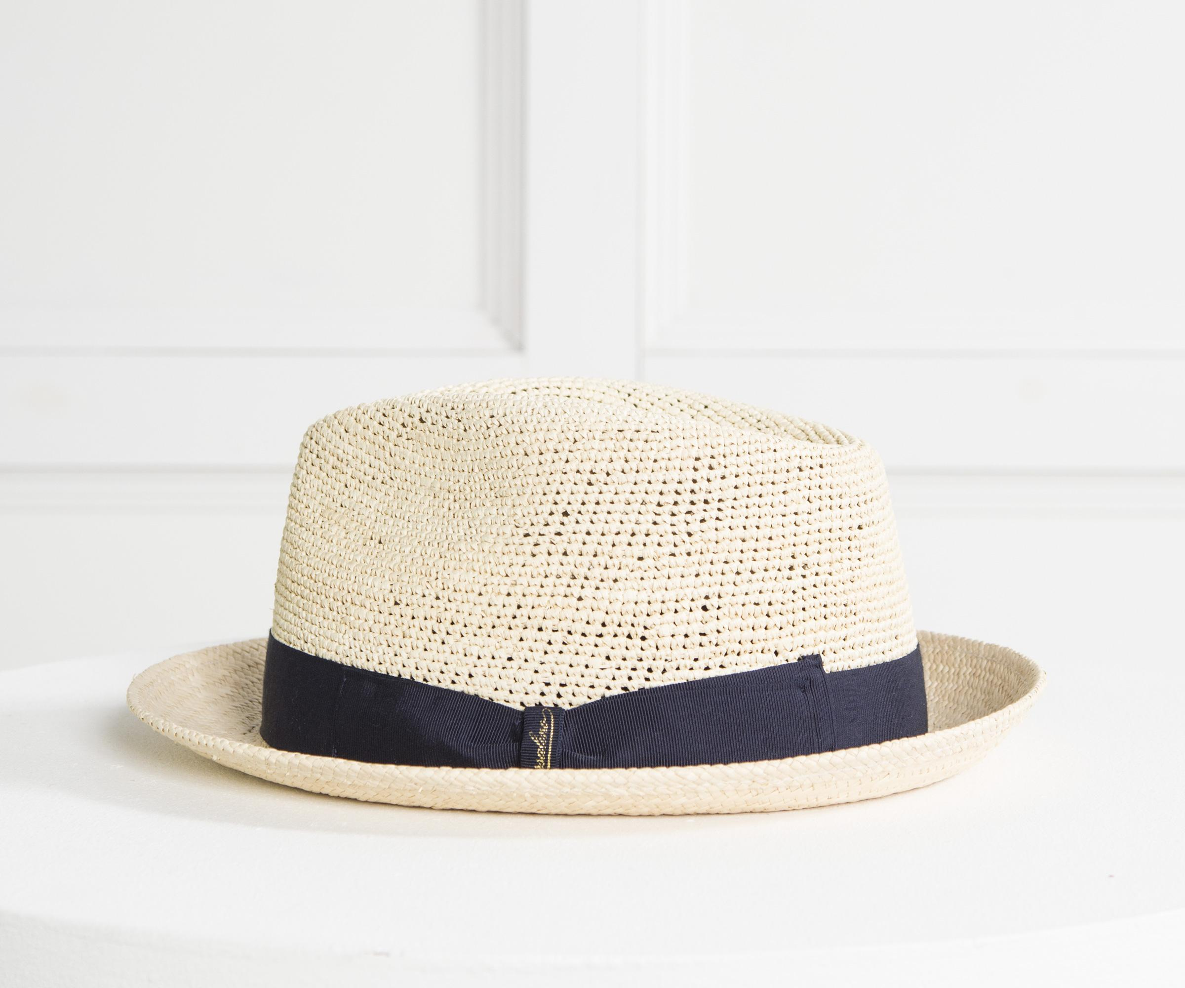 6e2452d5358 Lyst - Borsalino Made In Italy Straw Trilby With Navy Band in Blue ...