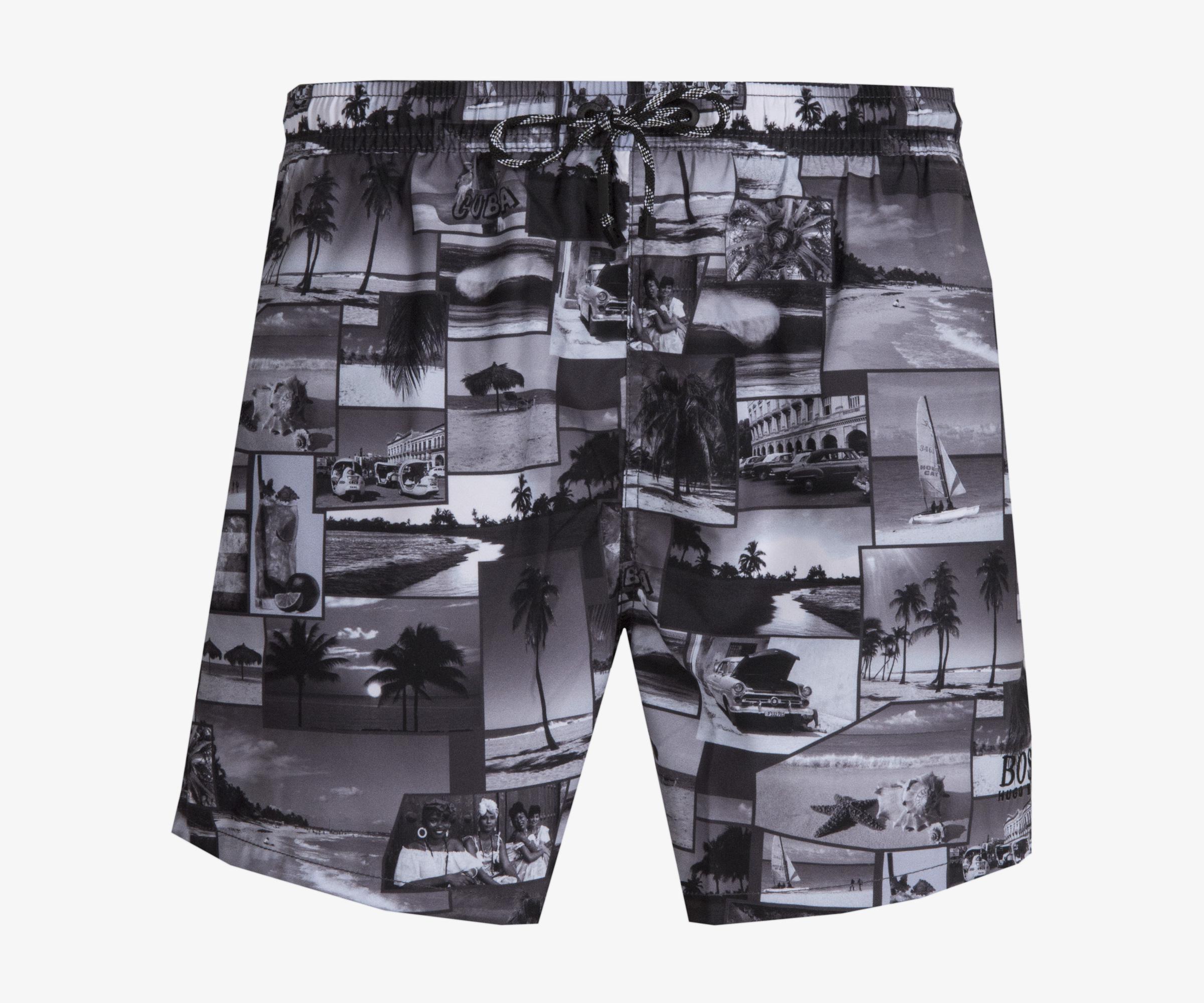 11e73566c9 BOSS. Men's 'springfish' Quick Dry Cuba Lifestyle Print Swim Shorts ...