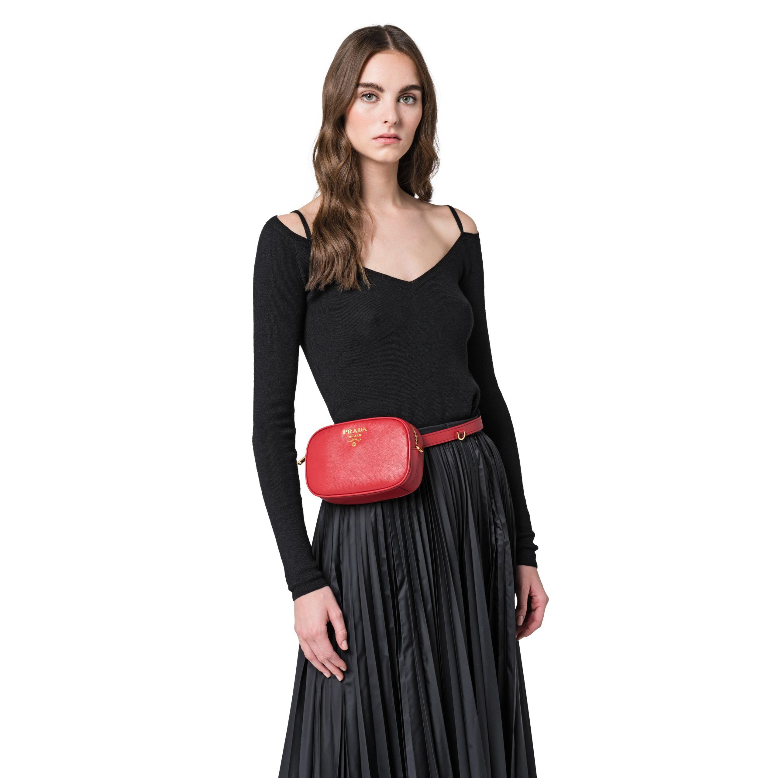 800fc9d013afbe Prada Saffiano Leather Belt Bag in Red - Lyst