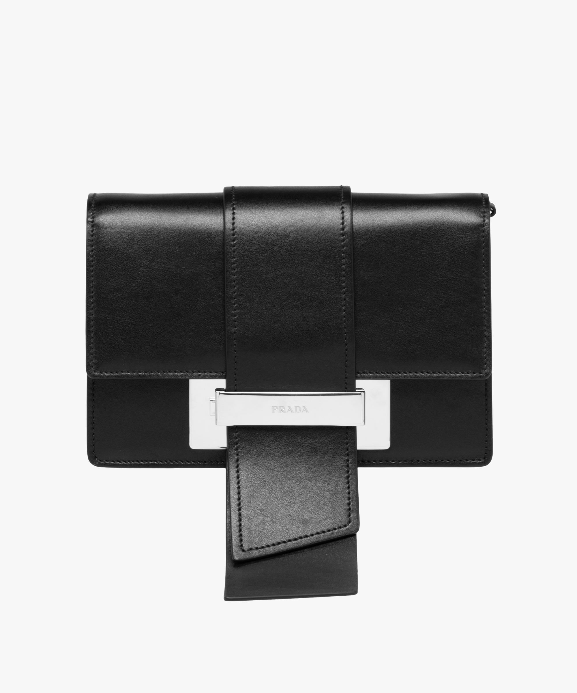 e5b104ac4d37 Lyst - Prada Metal Ribbon Bag in Black
