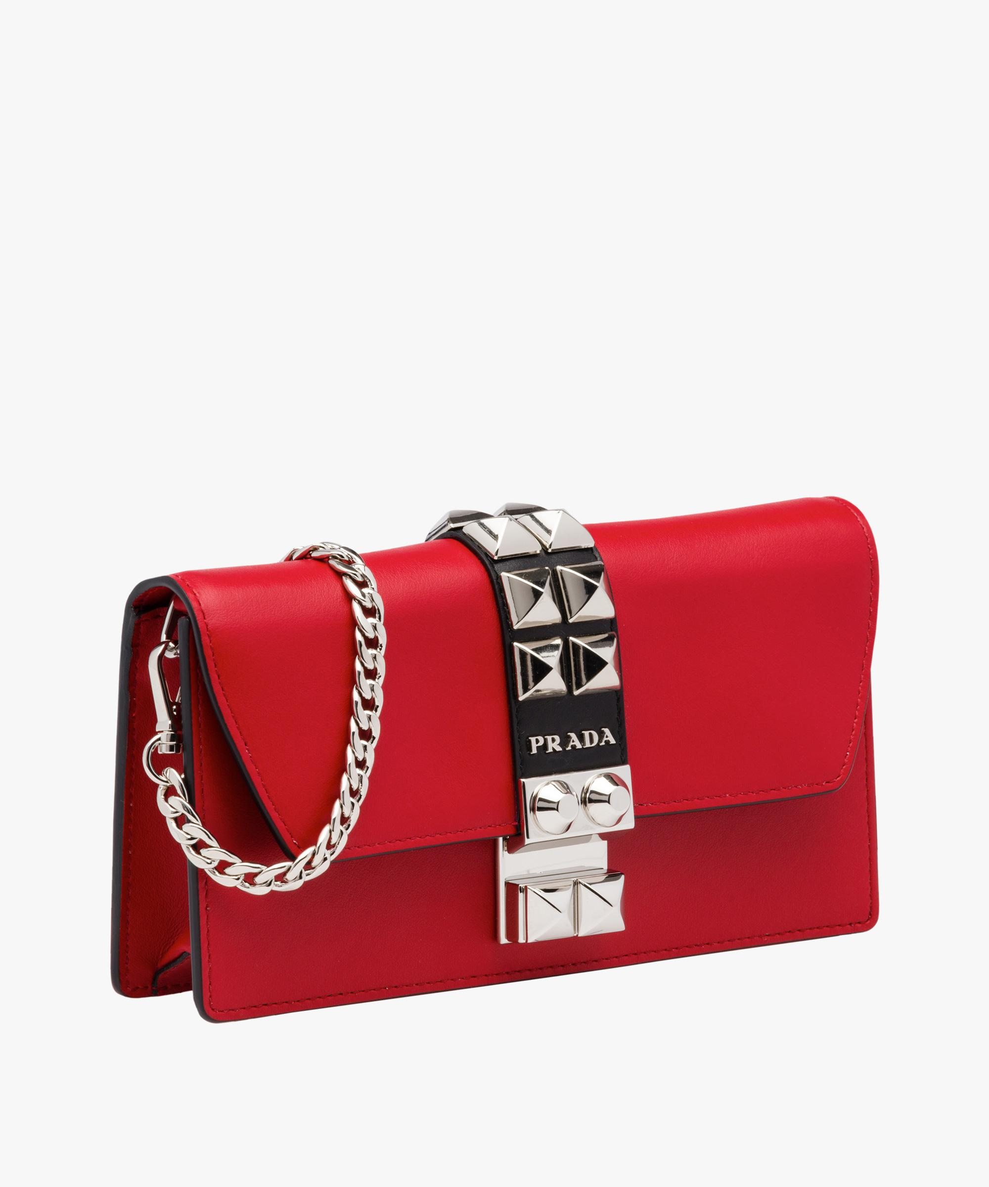 eb2e7f7d92 Lyst - Prada Elektra Studded Clutch in Red