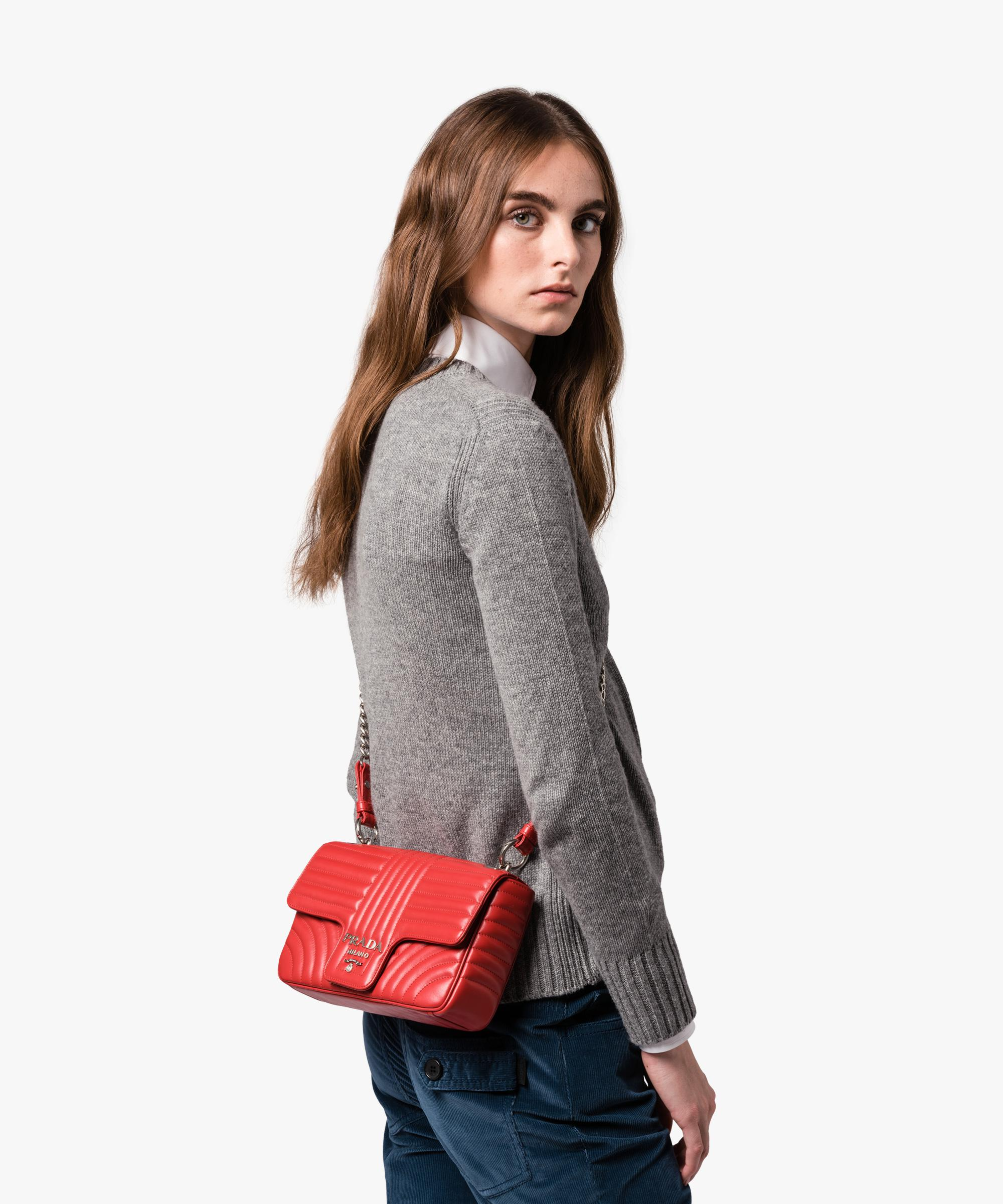 e2f8c0a90b Lyst - Prada Diagramme Leather Shoulder Bag in Red