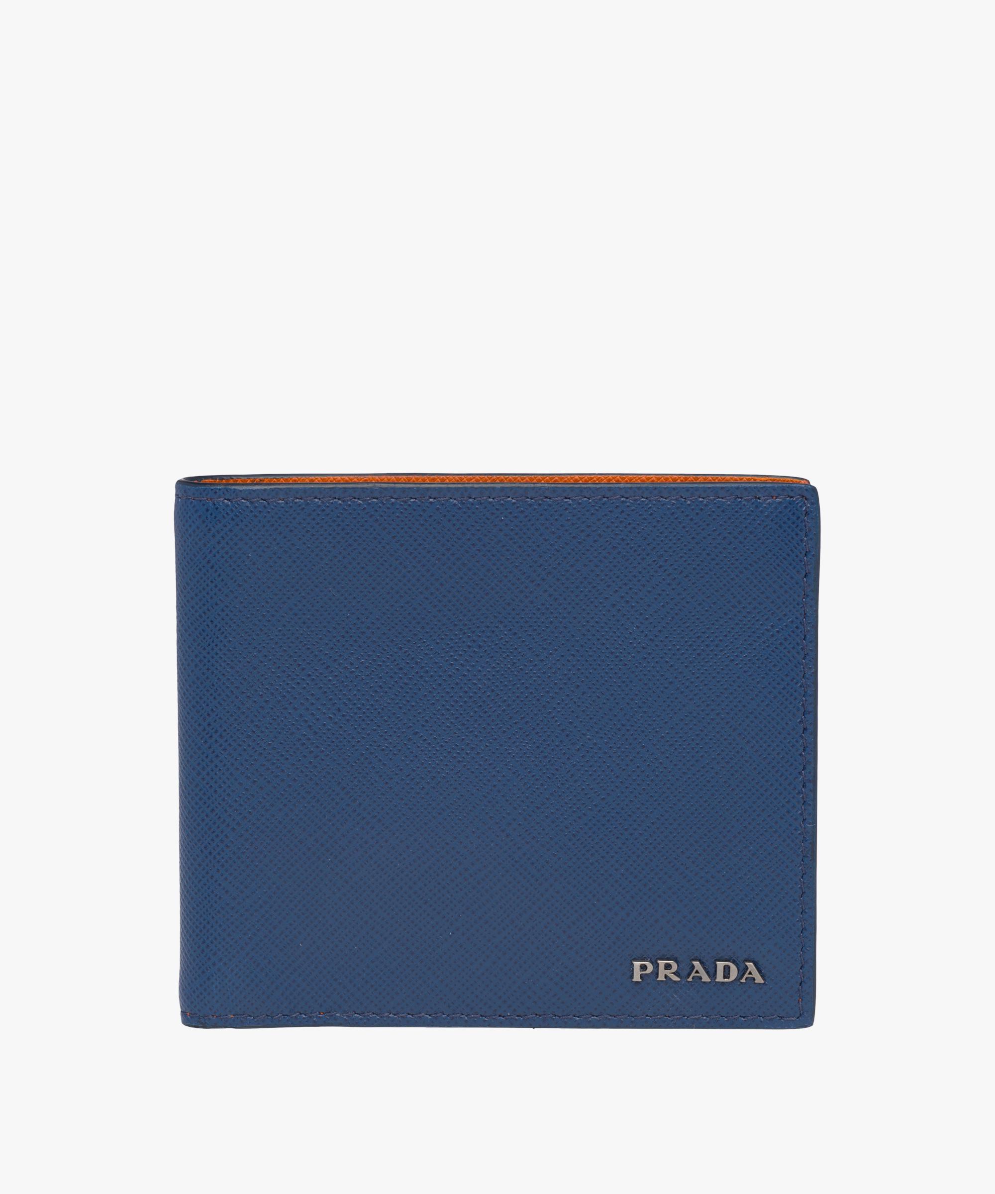 638a318b33c0 Prada Saffiano Leather Wallet in Blue for Men - Lyst