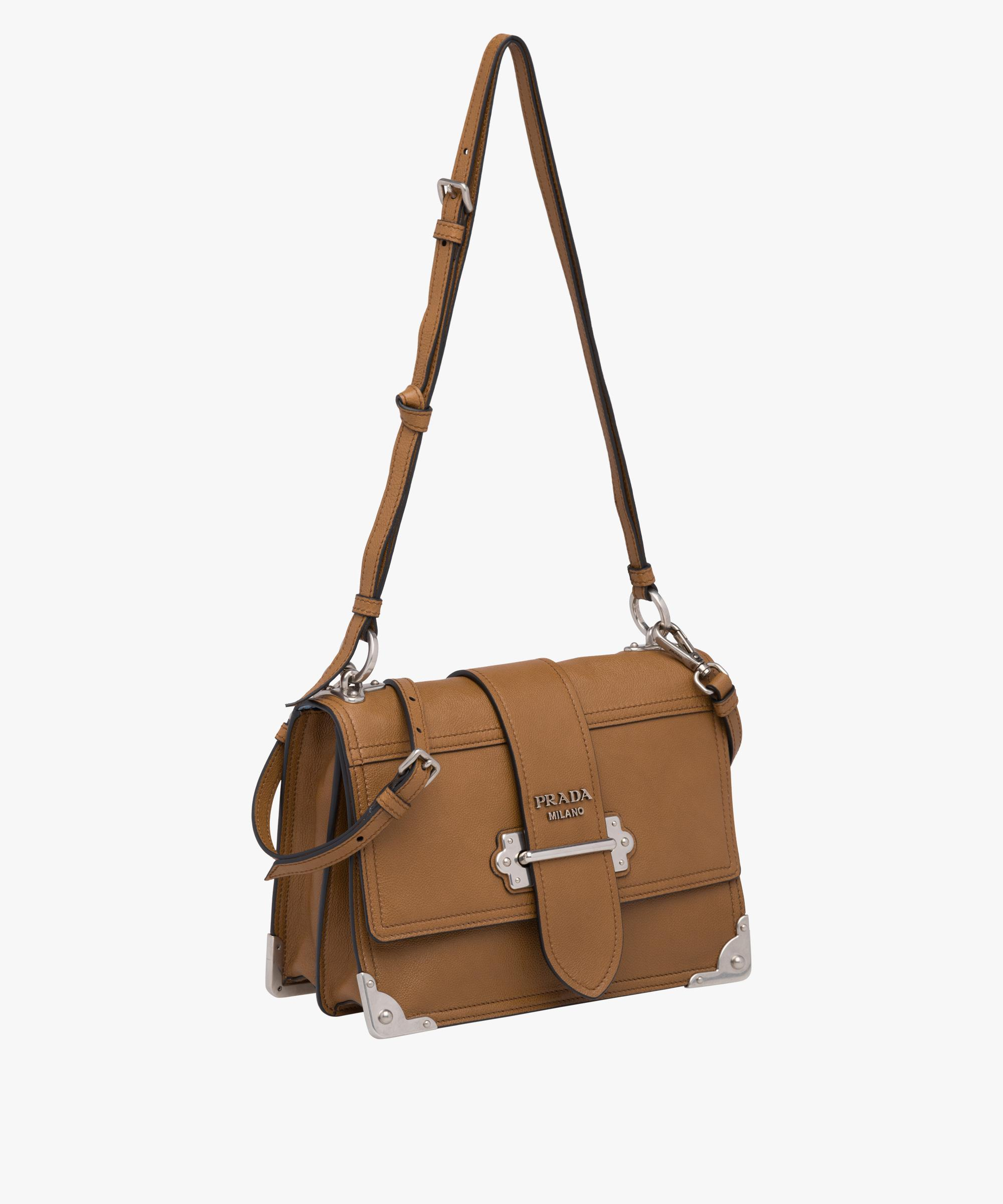 1bc3387785e7 ... uk lyst prada cahier leather shoulder bag in brown ac777 a82ad
