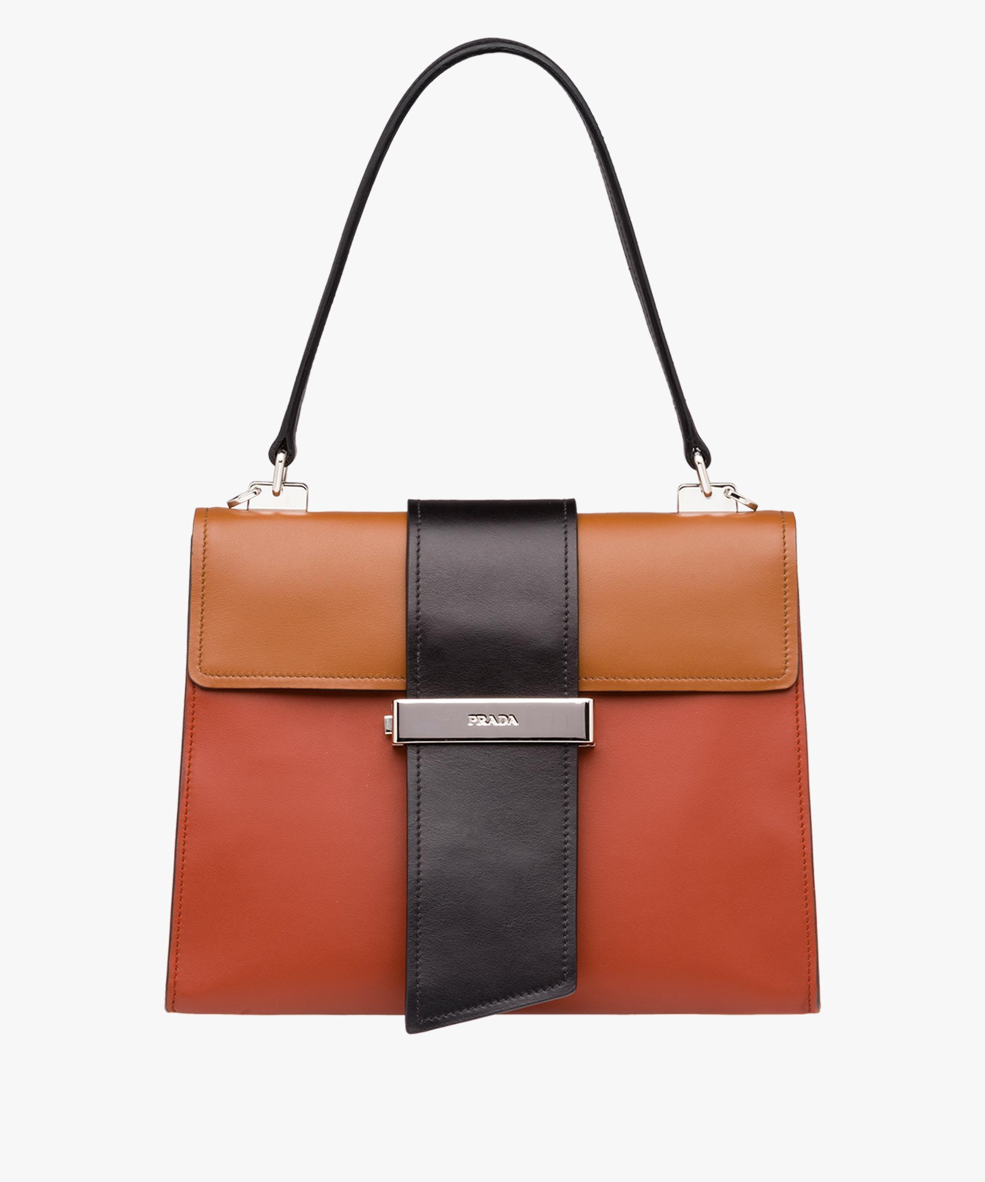 19822157f20b Lyst - Prada Metal Ribbon Leather Shoulder Bag in Black