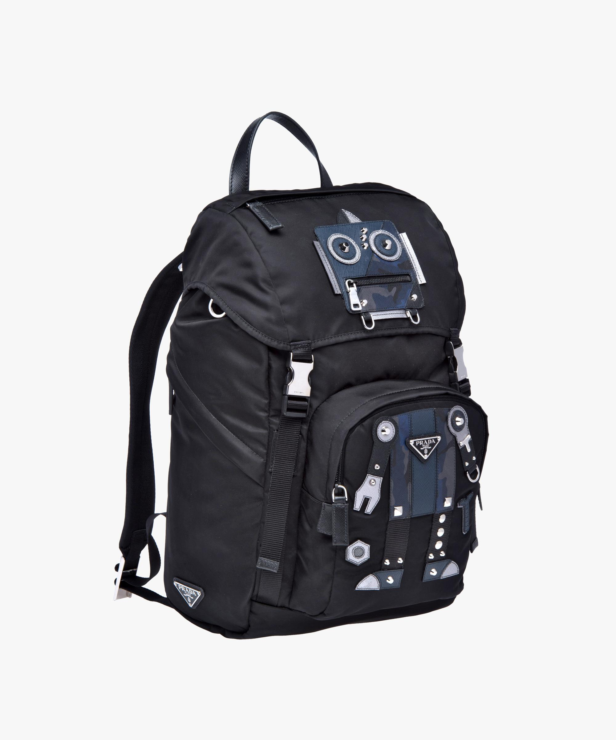 db58afe9540 Lyst - Prada Technical Fabric And Saffiano Leather Backpack in Black ...