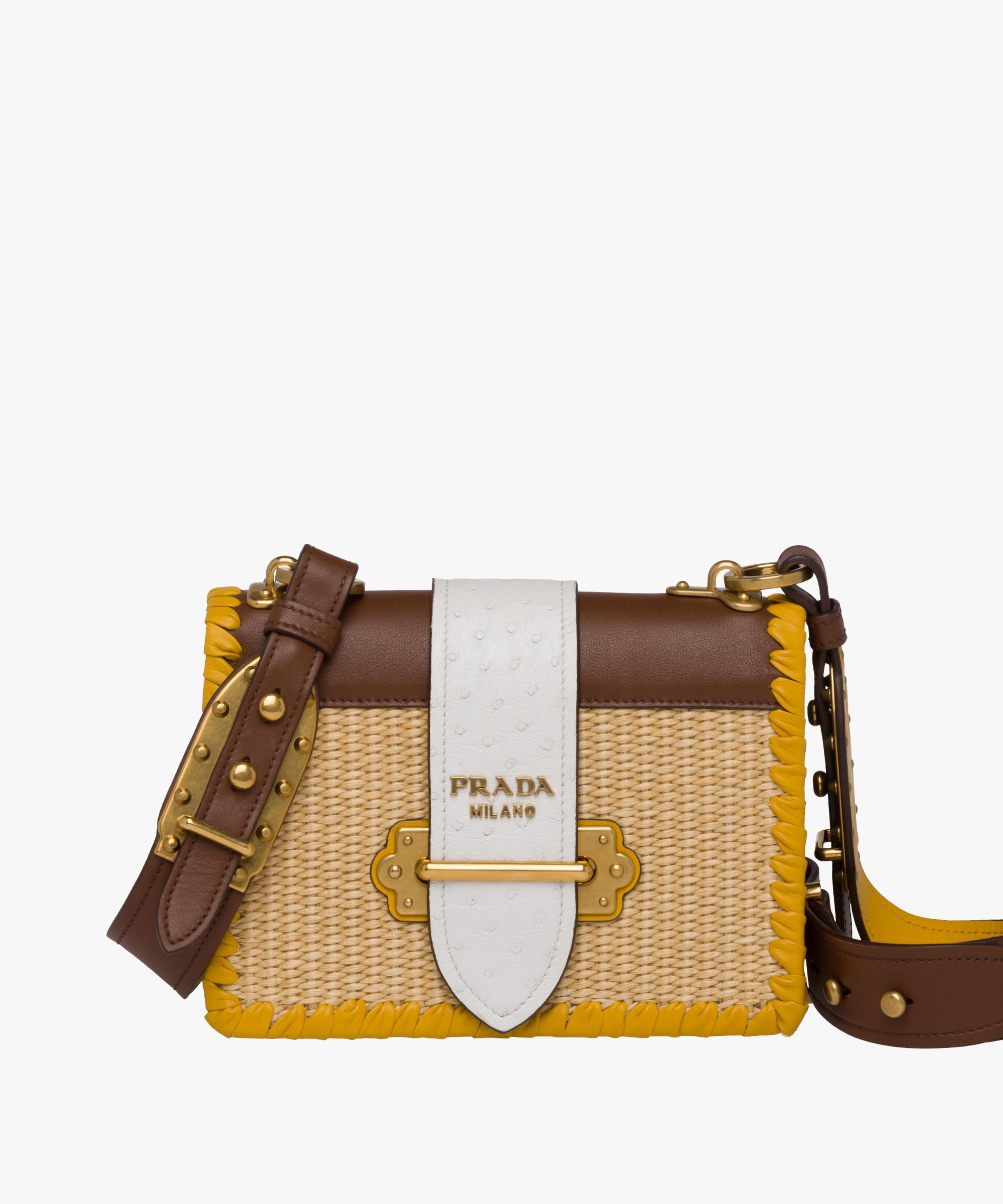 92f06cfbe732 Prada Cahier Straw And Leather Bag in Brown - Lyst