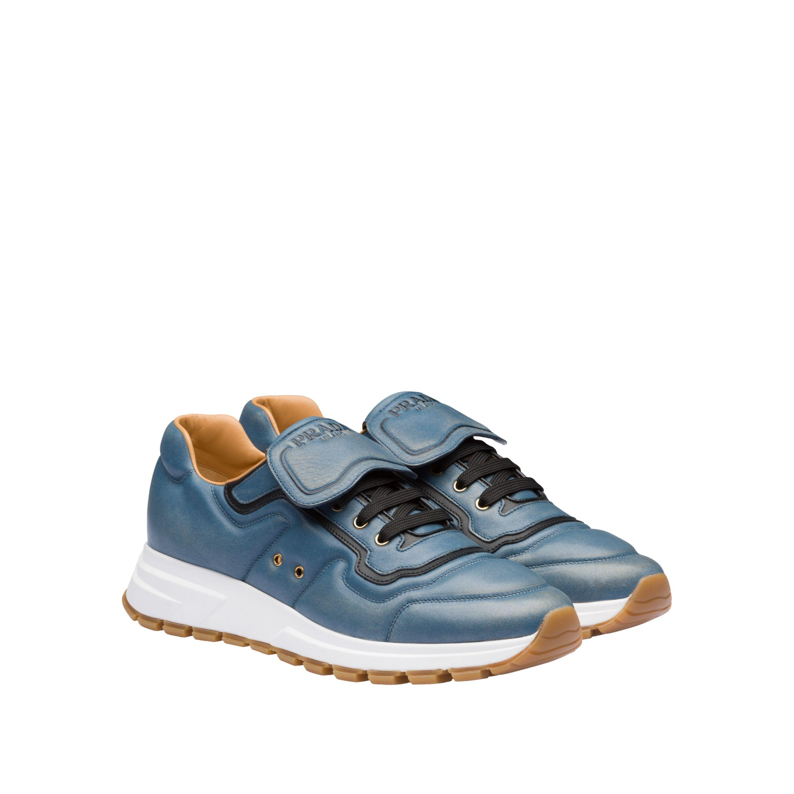 ee51cbcb61 Prada Prax 01 Vintage Nappa Leather Sneakers in Blue for Men - Lyst