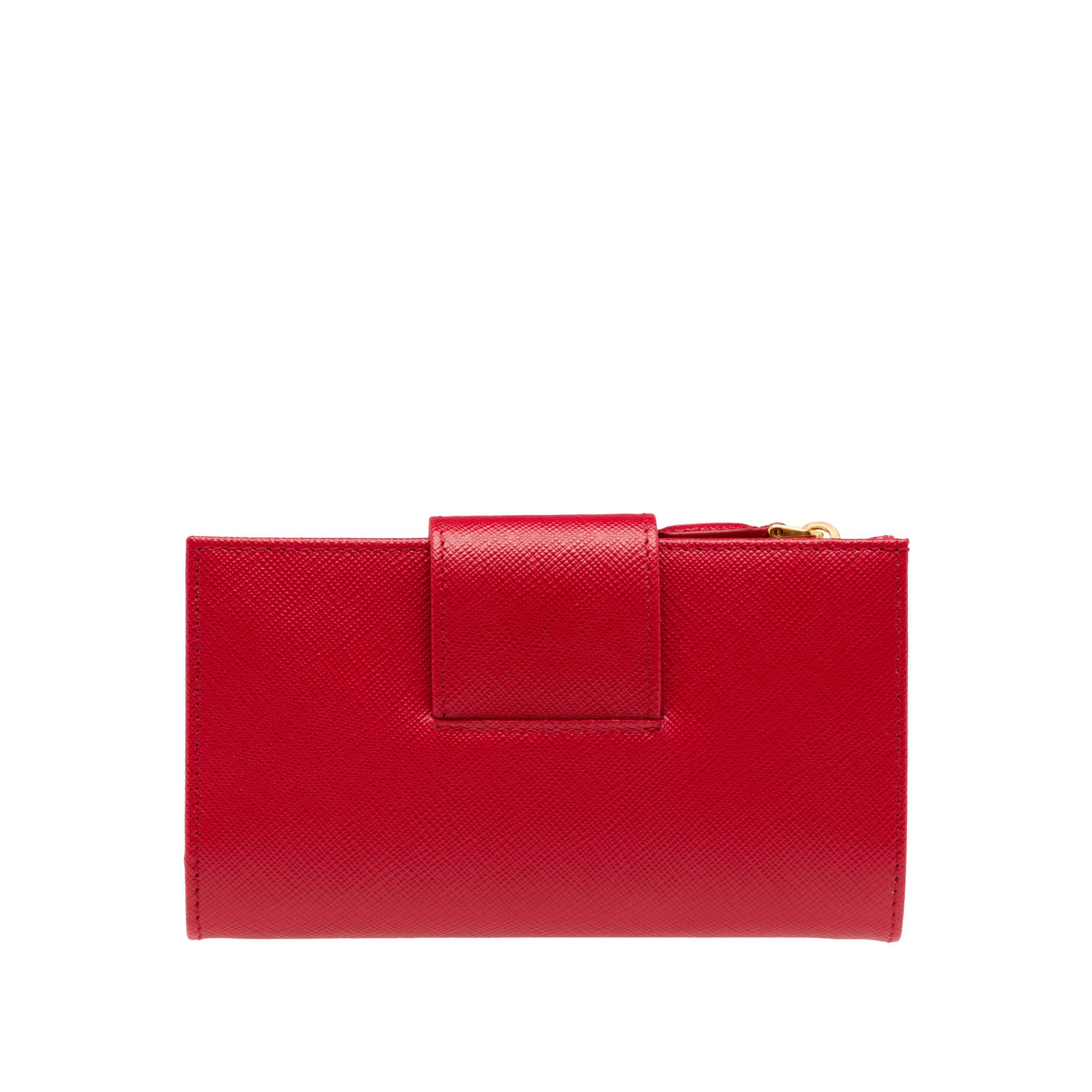 ef12ea8246a3 Prada - Red Medium Saffiano Leather Wallet - Lyst. View fullscreen