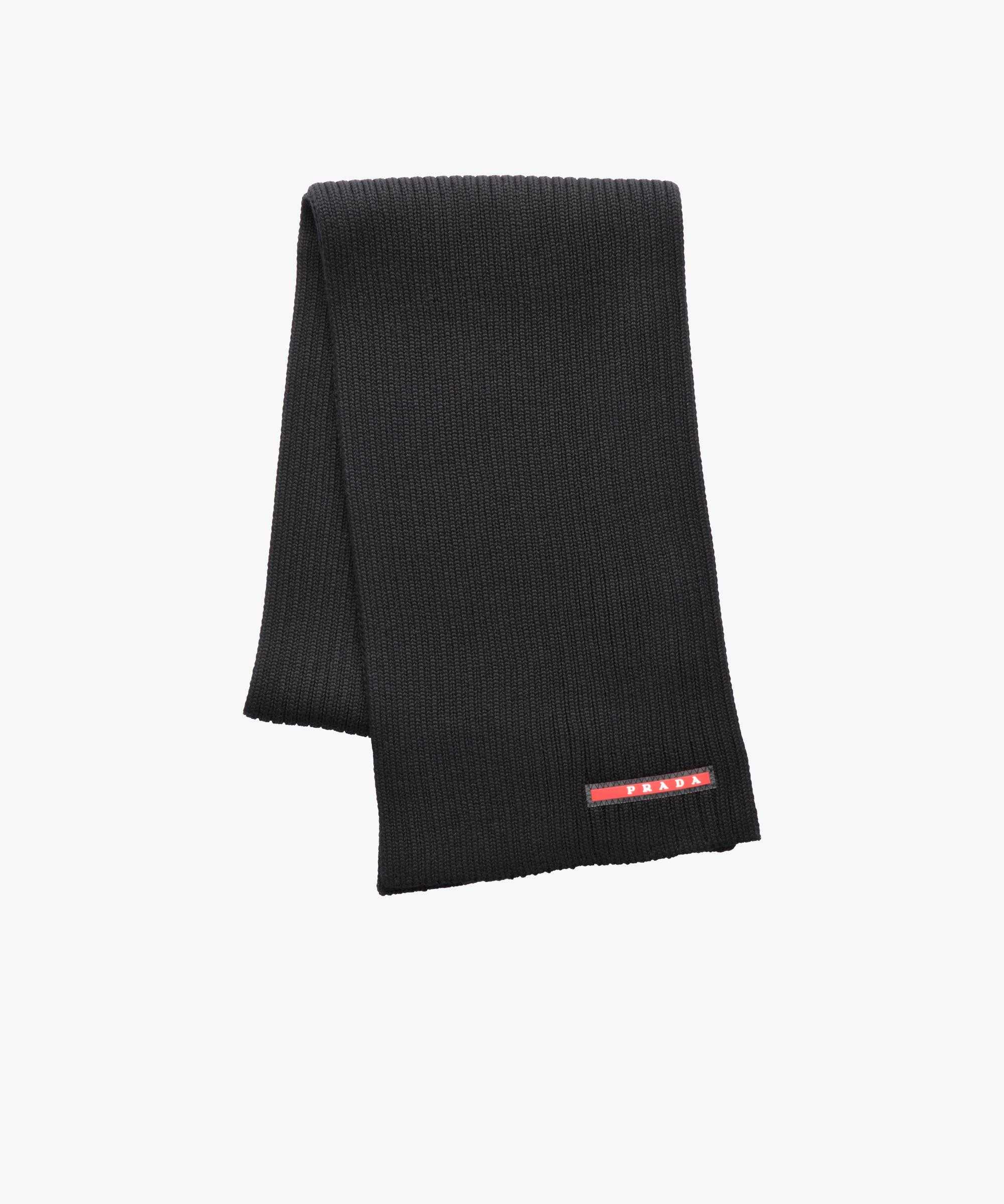 55e91ea4a37 ... wholesale lyst prada ribbed wool scarf in black for men c1da4 27a52